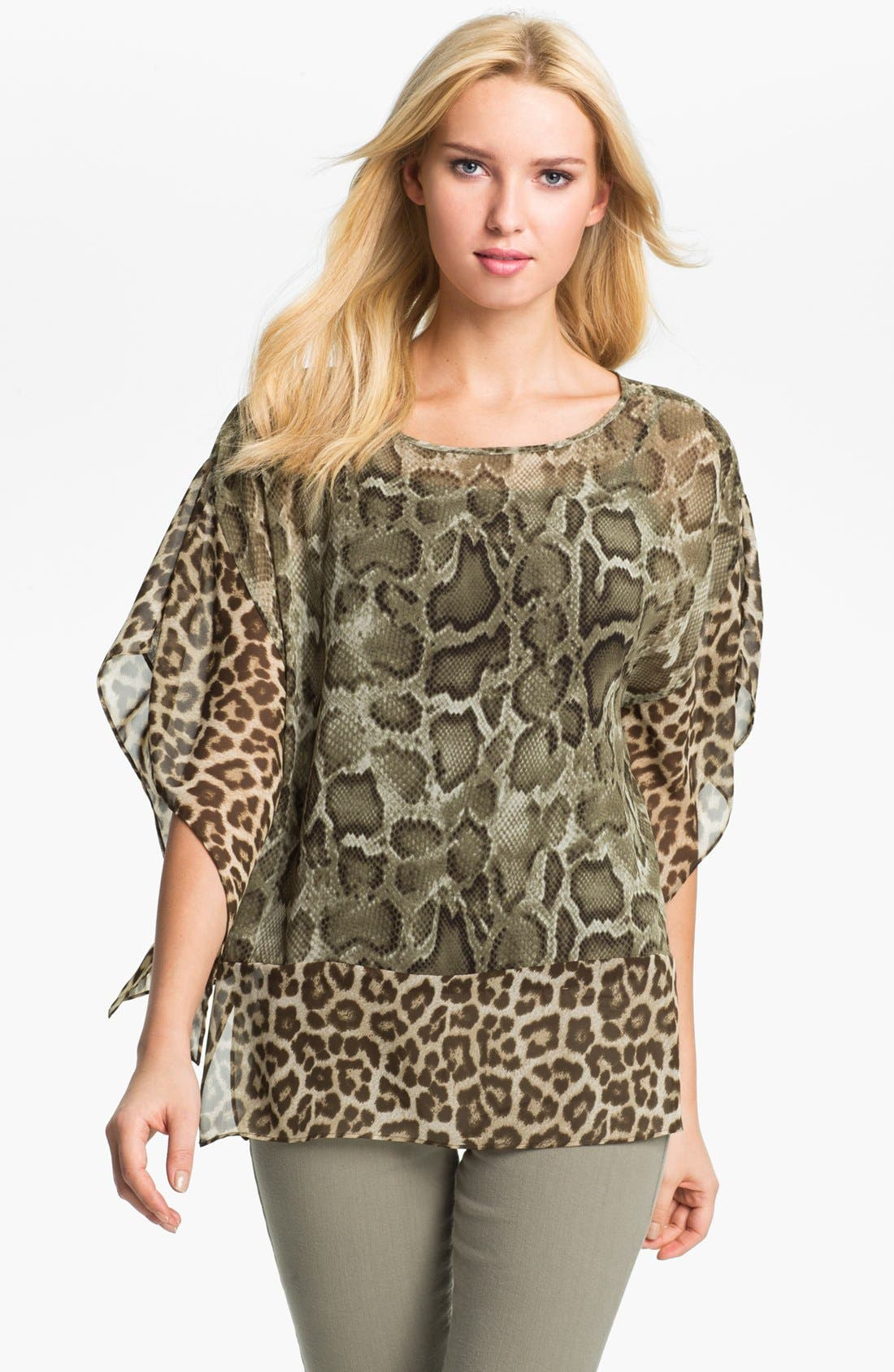 Alternate Image 1 Selected - MICHAEL Michael Kors Boatneck Print Chiffon Tunic