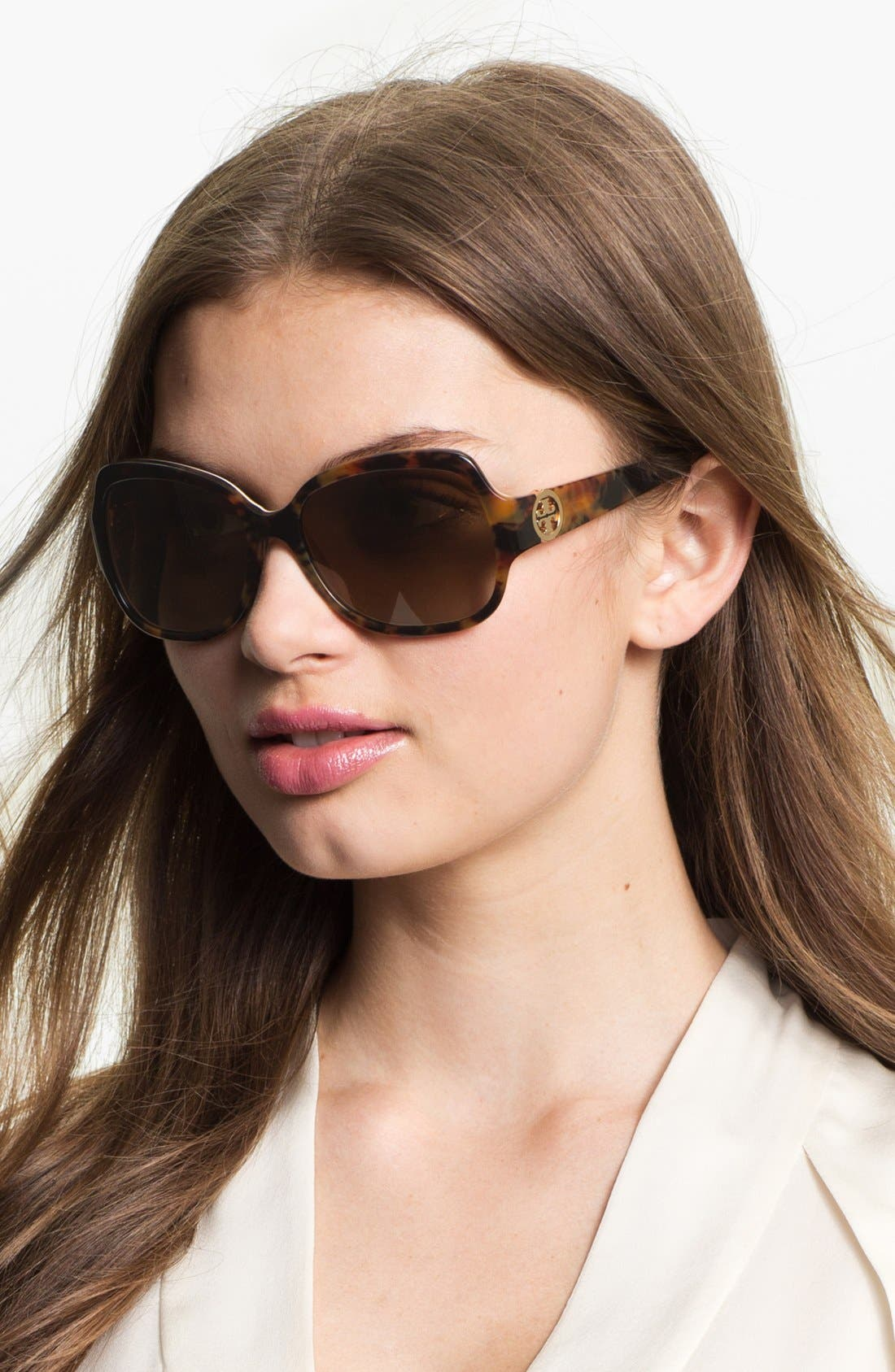 Main Image - Tory Burch 'Glam Logo Hinge' 57mm Polarized Sunglasses