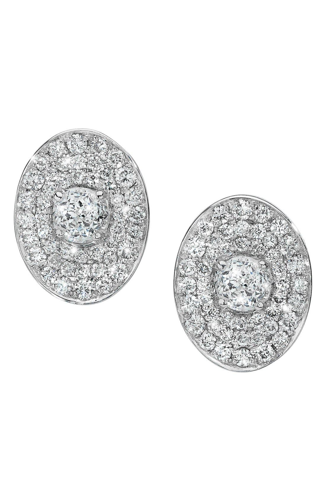 Main Image - Ivanka Trump 'Signature' Oval Pavé Diamond Stud Earrings