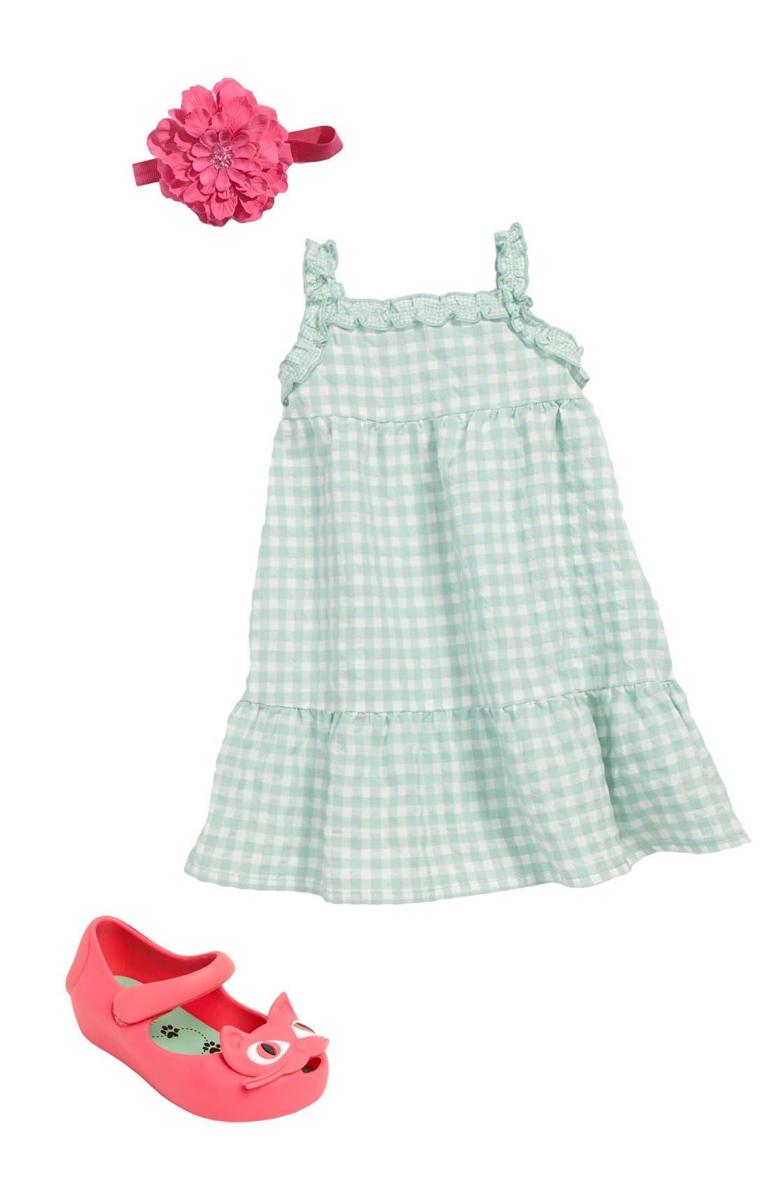 Alternate Image 1 Selected - United Colors of Benetton Kids Dress, PLH Bows & Laces Headband & Mini Melissa Slip-On (Infant)