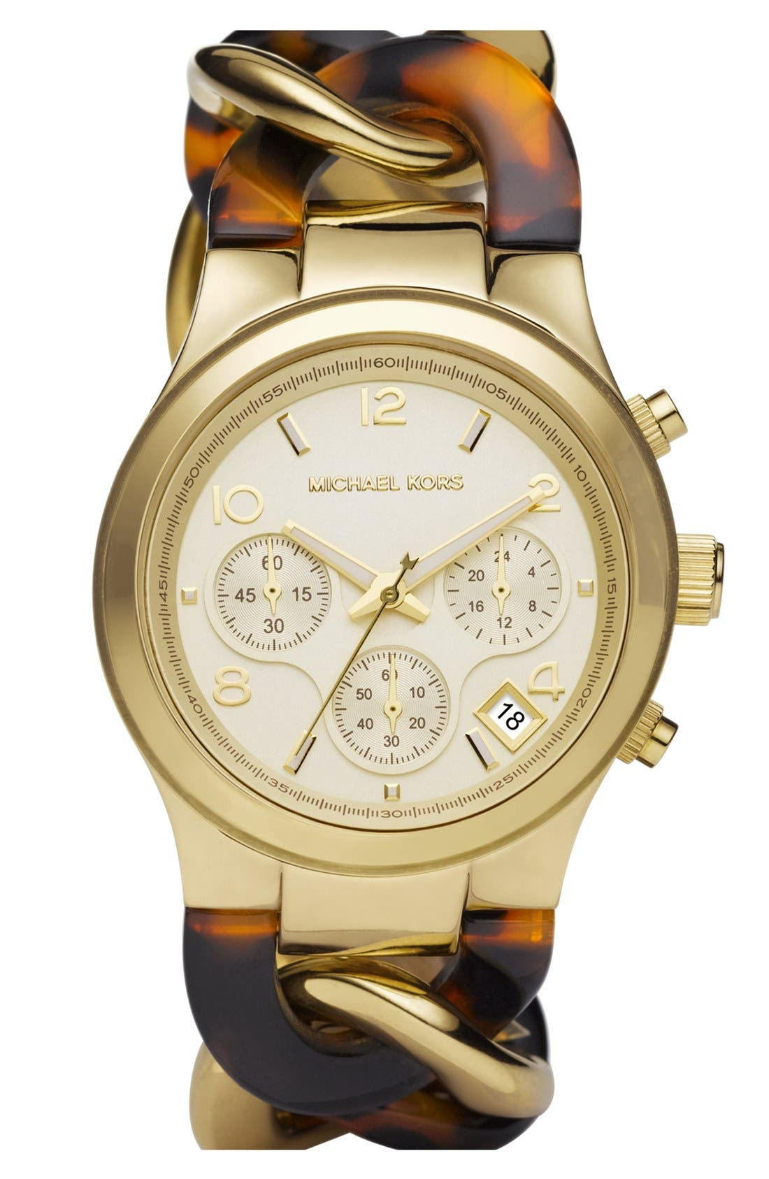 Main Image - Michael Kors Chain Bracelet Chronograph Watch, 38mm