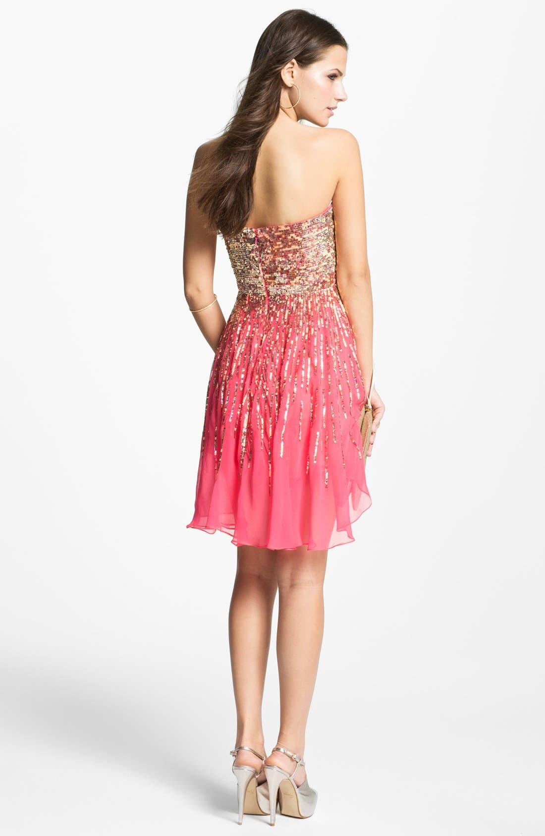 Alternate Image 2  - Sherri Hill Embellished Sweetheart Silk Chiffon Dress (Online Exclusive)