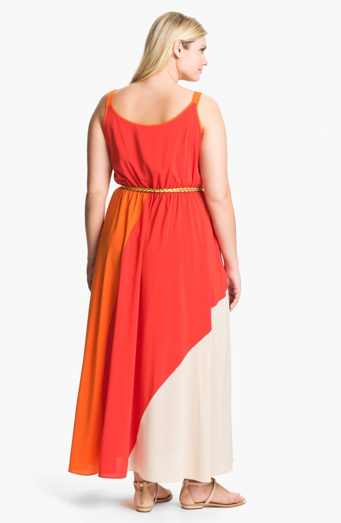 Alternate Image 2  - Calvin Klein Colorblock Chiffon Maxi Dress (Plus Size)