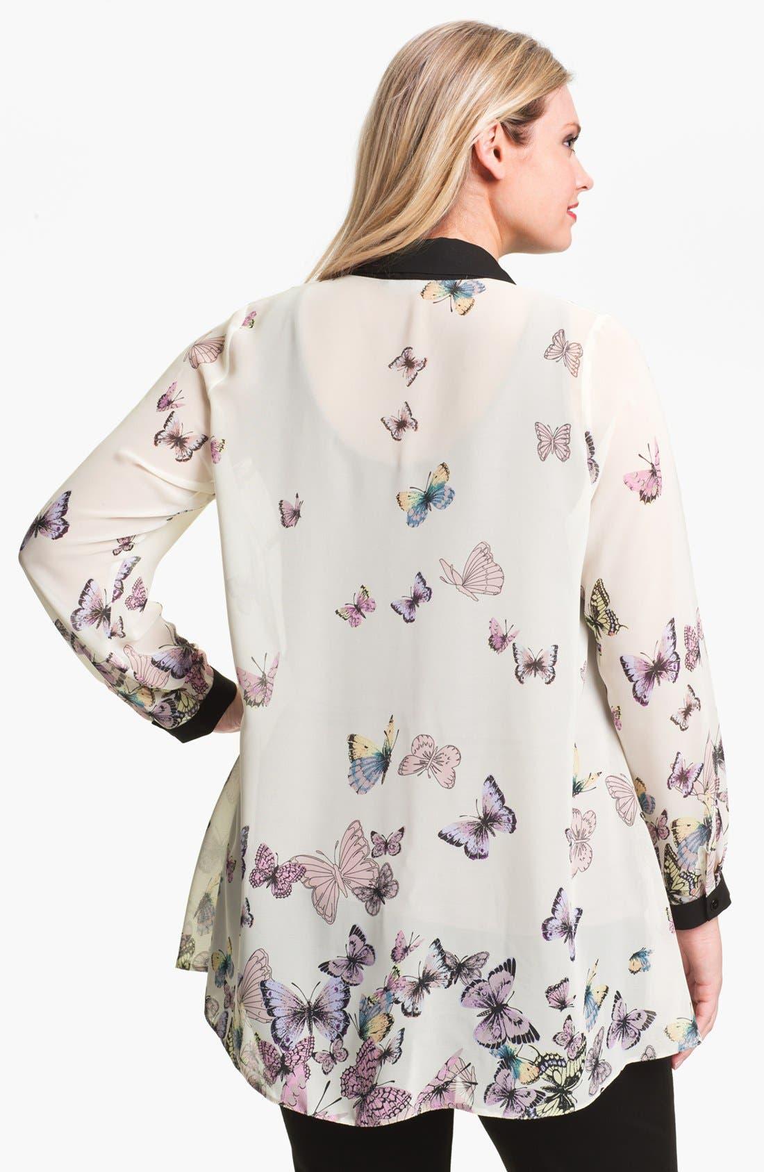 Alternate Image 2  - Evans Butterfly Print Shirt (Plus Size)