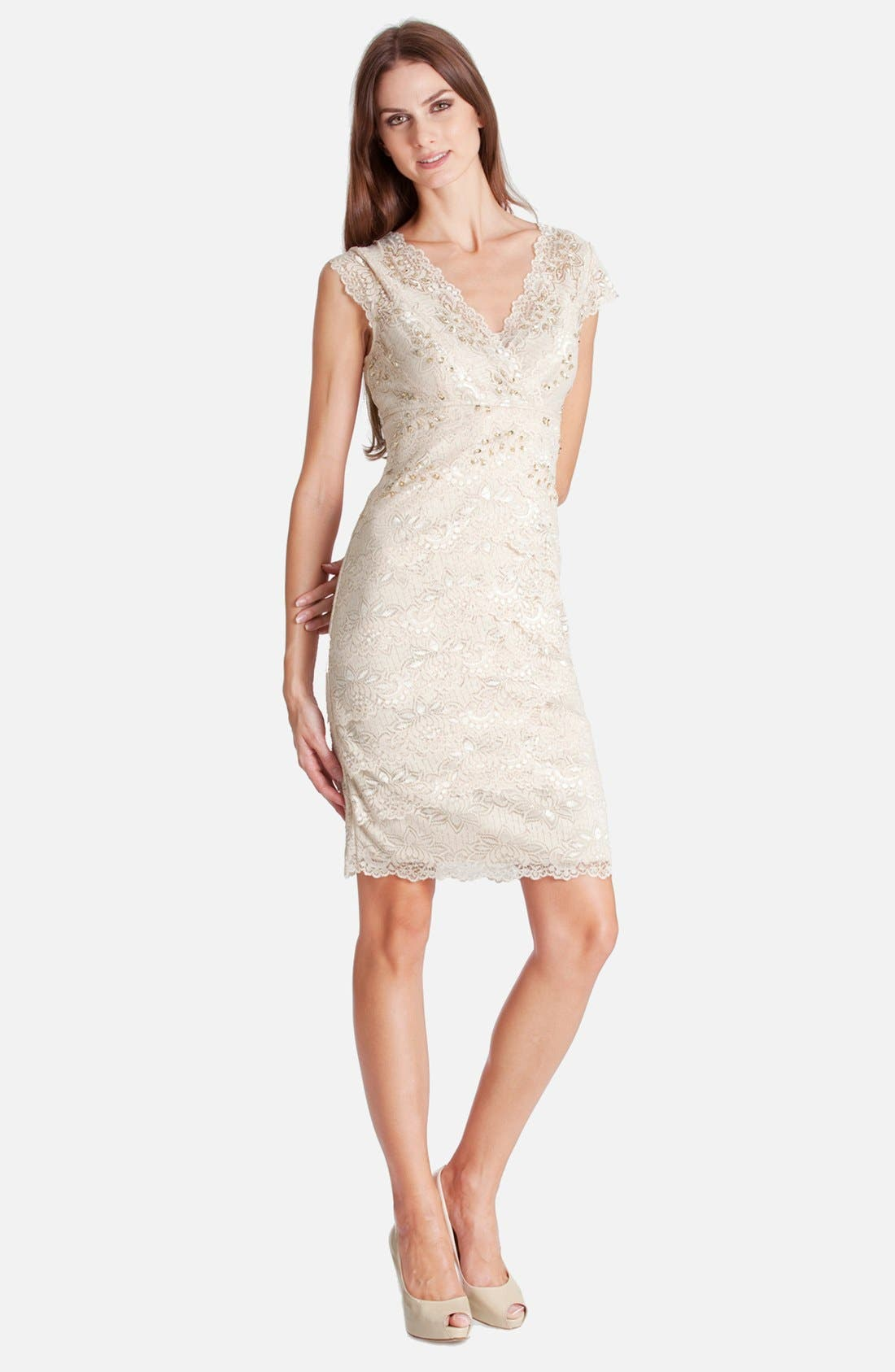 Alternate Image 1 Selected - JS Collections Layered Lace Sheath Dress (Petite)
