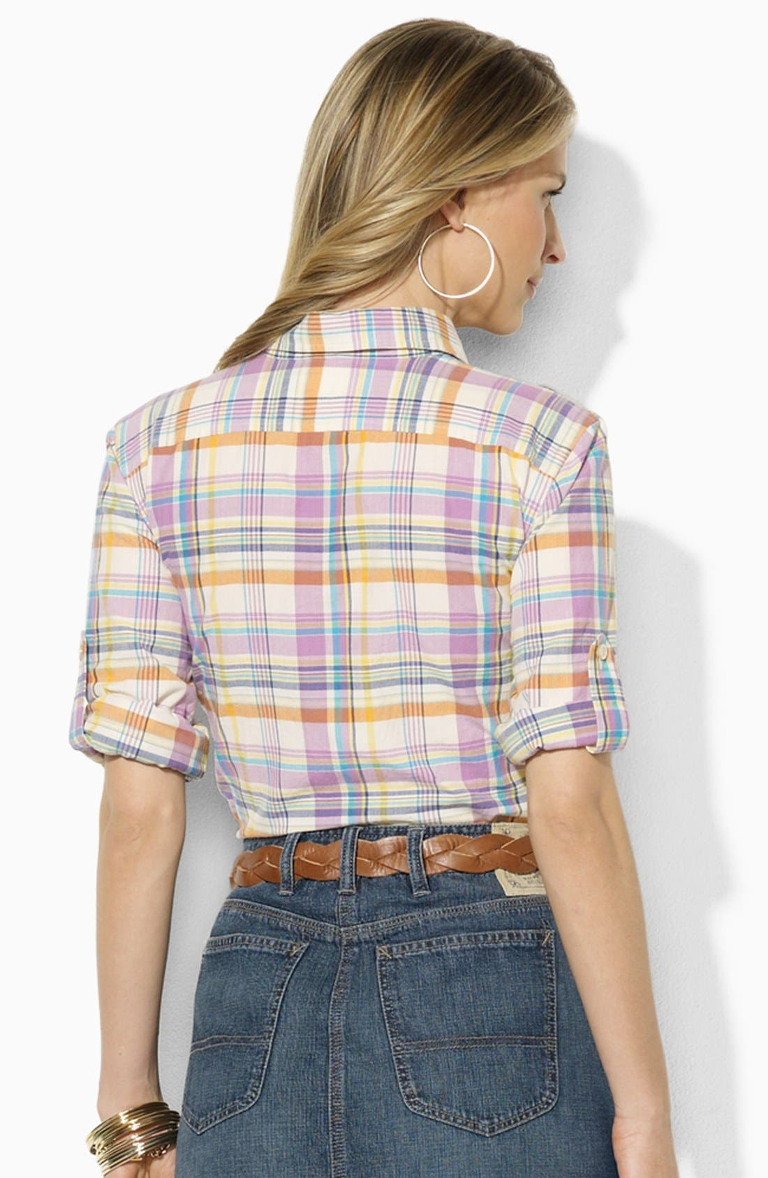Alternate Image 2  - Lauren Ralph Lauren Fitted Plaid Shirt (Petite) (Online Only)