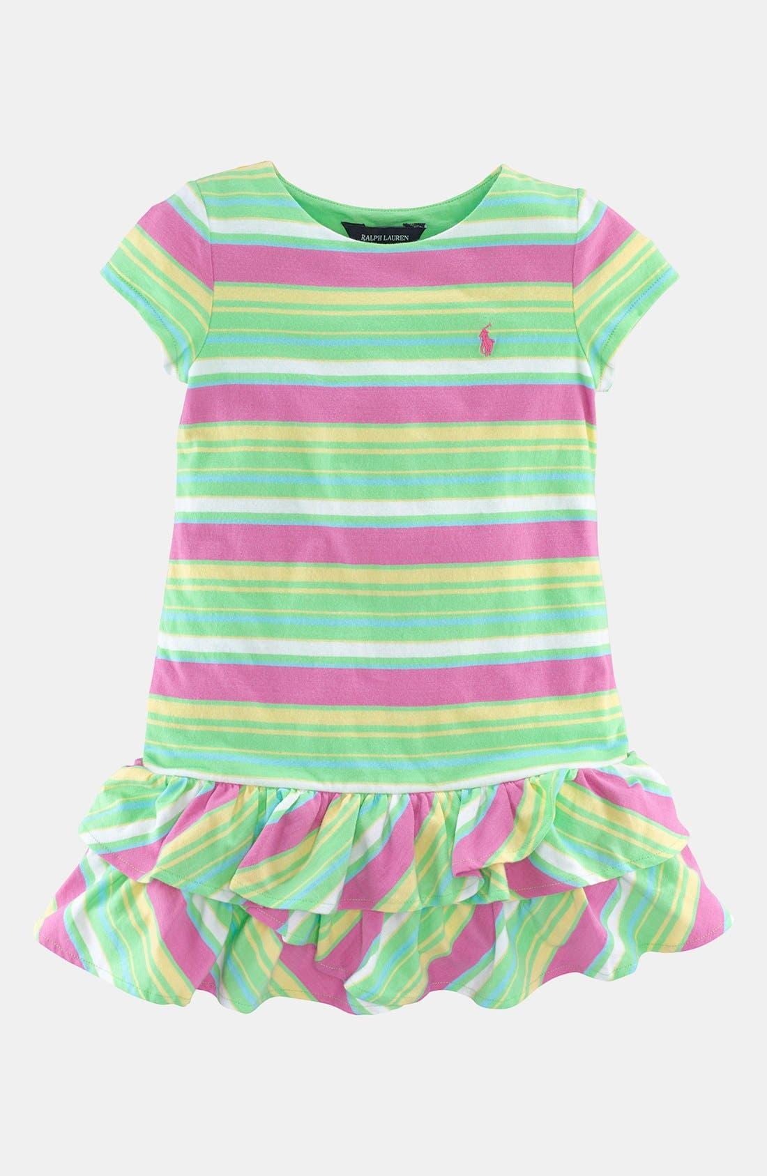 Alternate Image 1 Selected - Ralph Lauren Stripe Dress (Toddler)