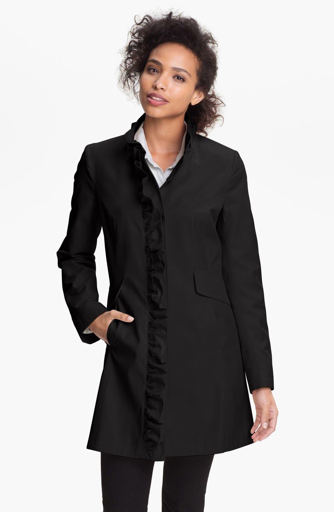 Main Image - DKNY Ruffle Front Walking Coat