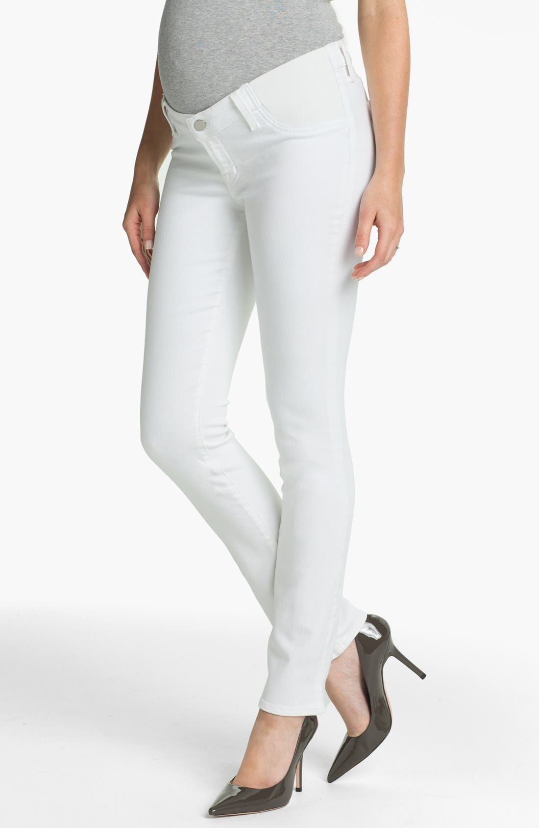 Straight Leg Stretch Maternity Jeans,                         Main,                         color, Blanc