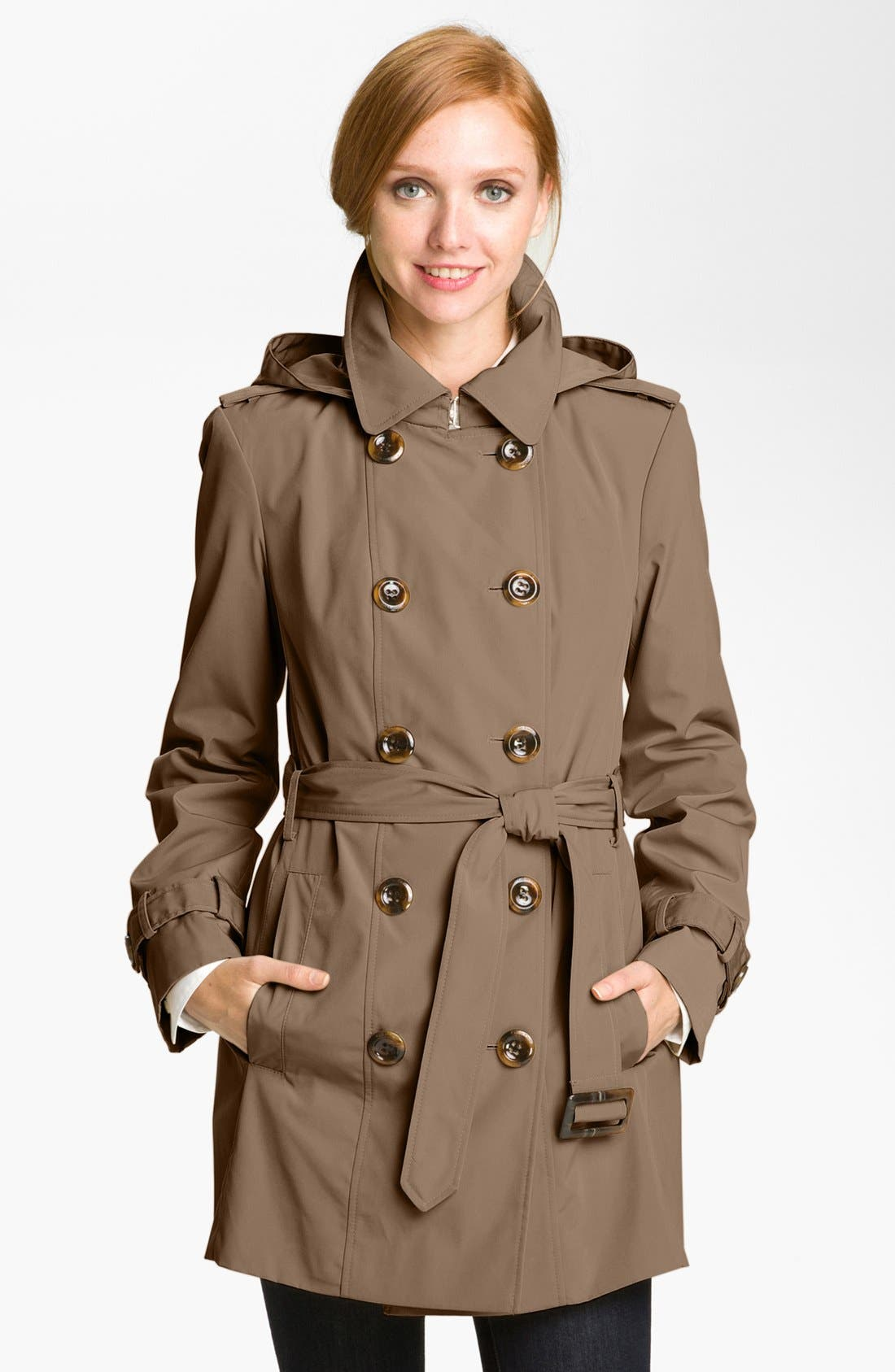 Alternate Image 1 Selected - Calvin Klein Double Breasted Trench Coat