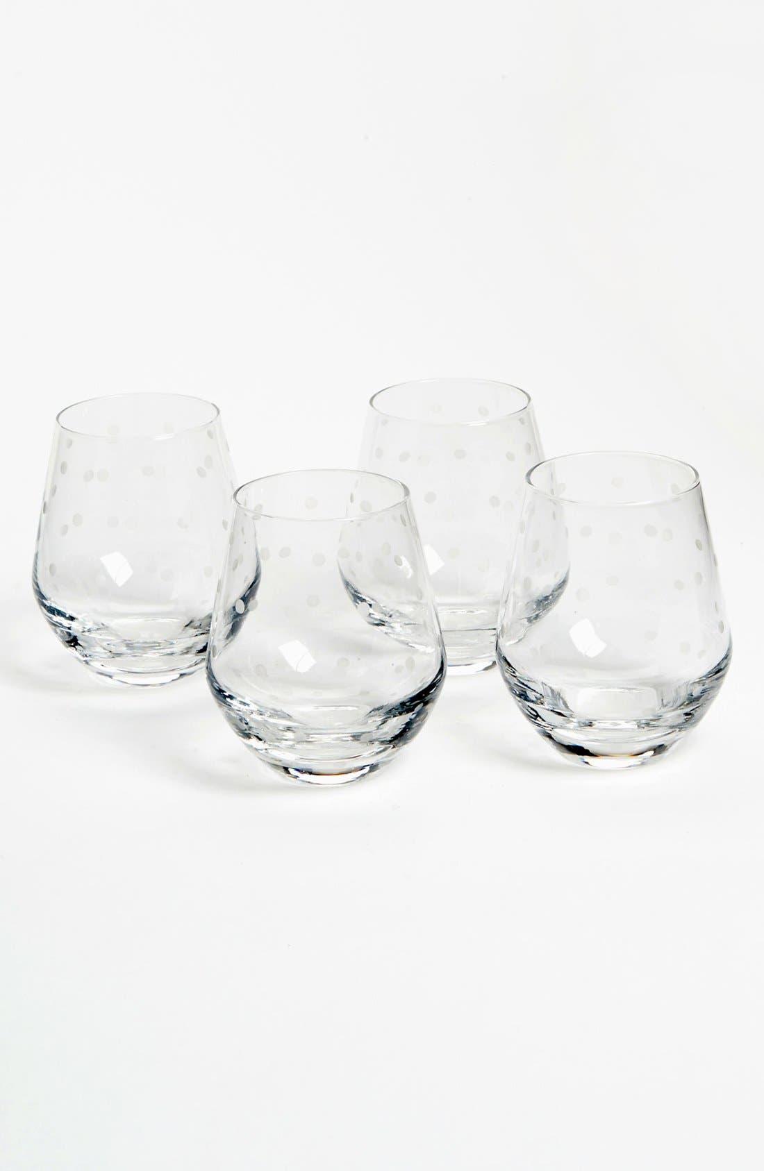 Alternate Image 1 Selected - kate spade new york 'larabee dot' stemless white wine glasses (Set of 4)