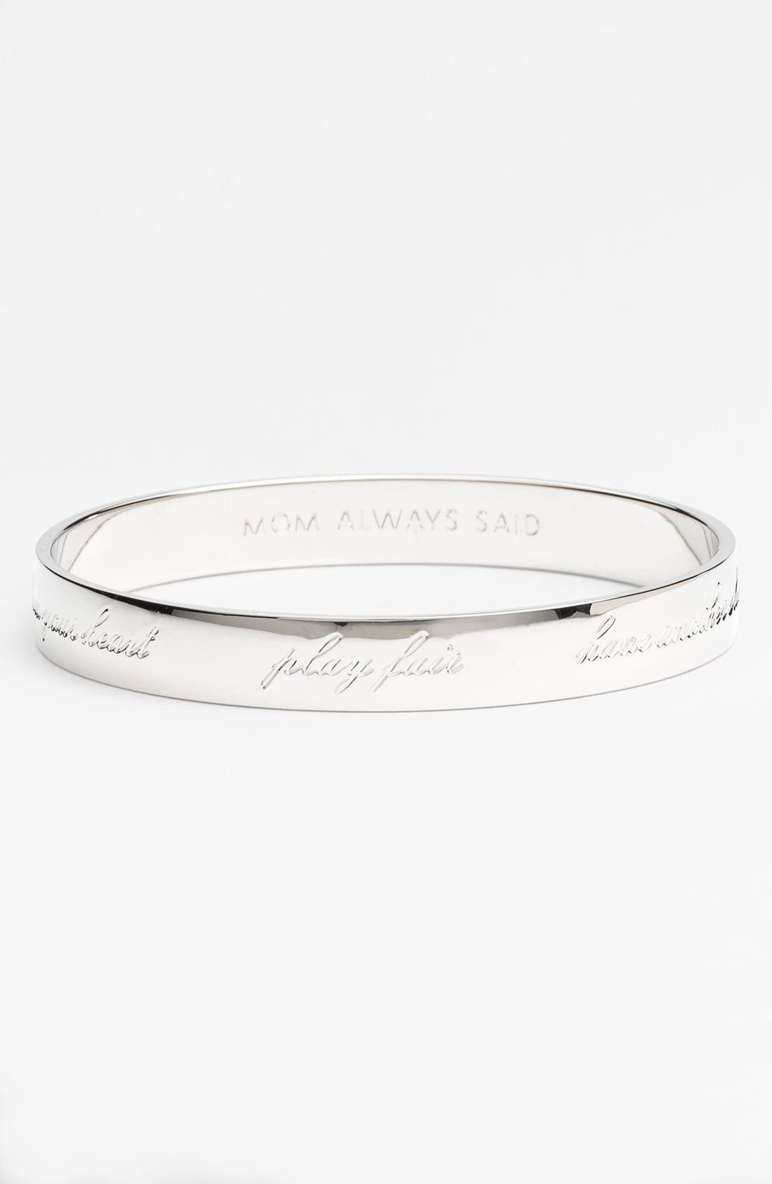 Alternate Image 1 Selected - kate spade new york 'idiom - mom always said' thin bangle