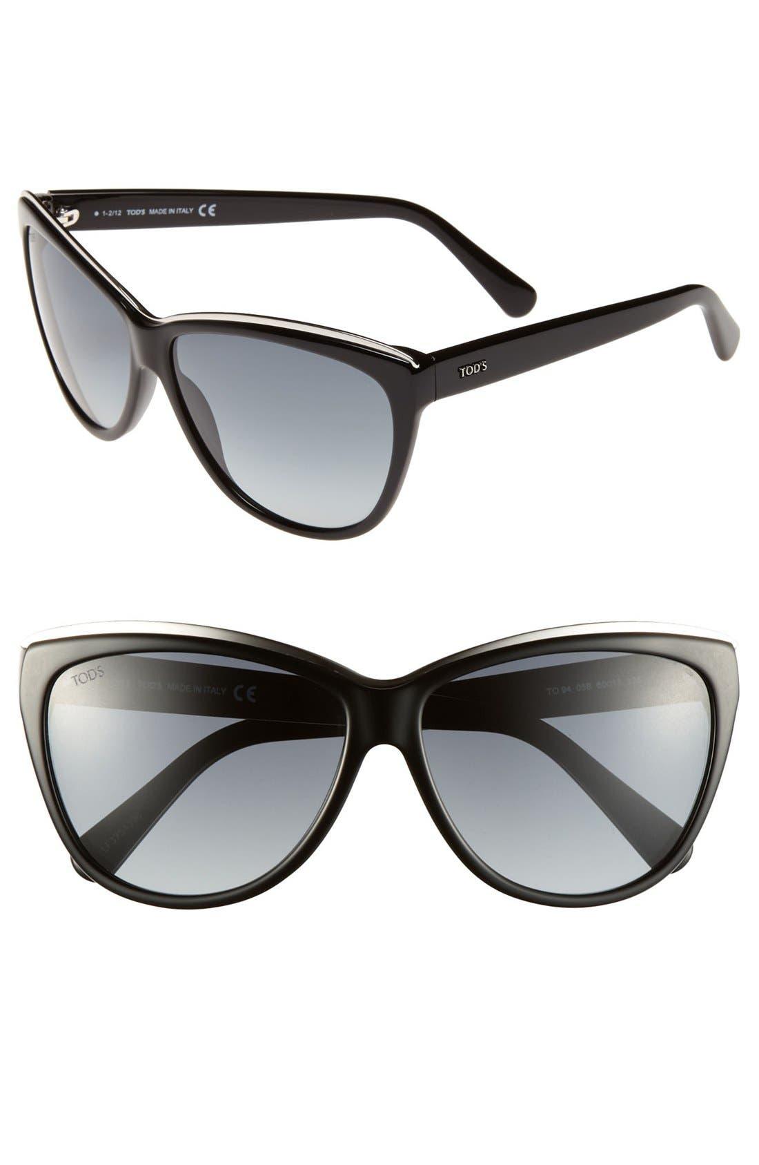 Main Image - Tod's 60mm Metal Trim Sunglasses
