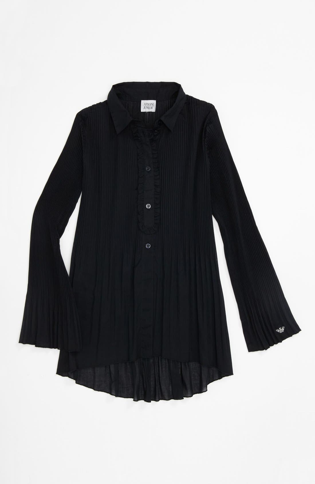 Pleated Blouse,                         Main,                         color, Navy