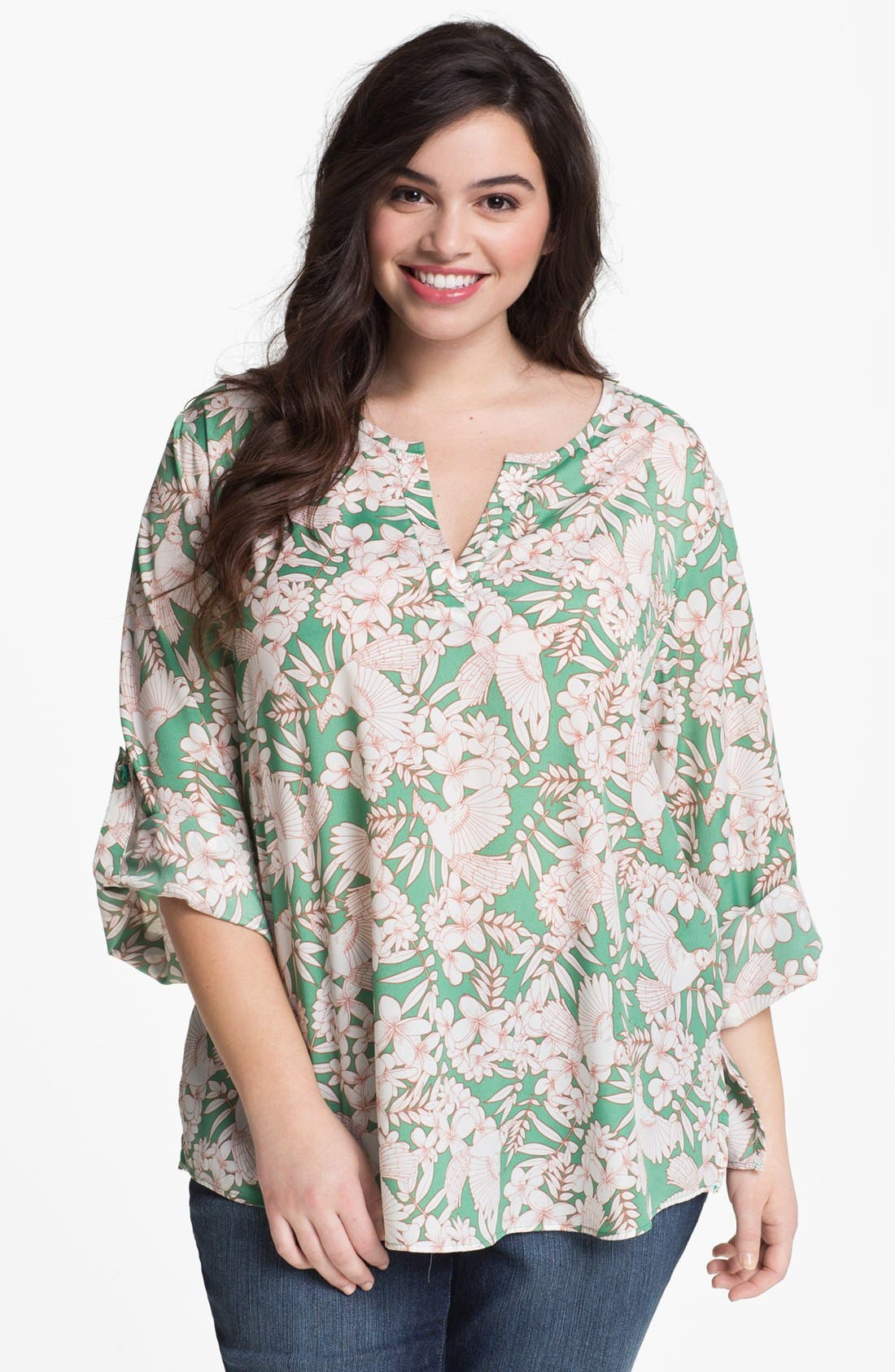 Alternate Image 1 Selected - Collective Concepts Print Bell Sleeve Top (Plus Size)