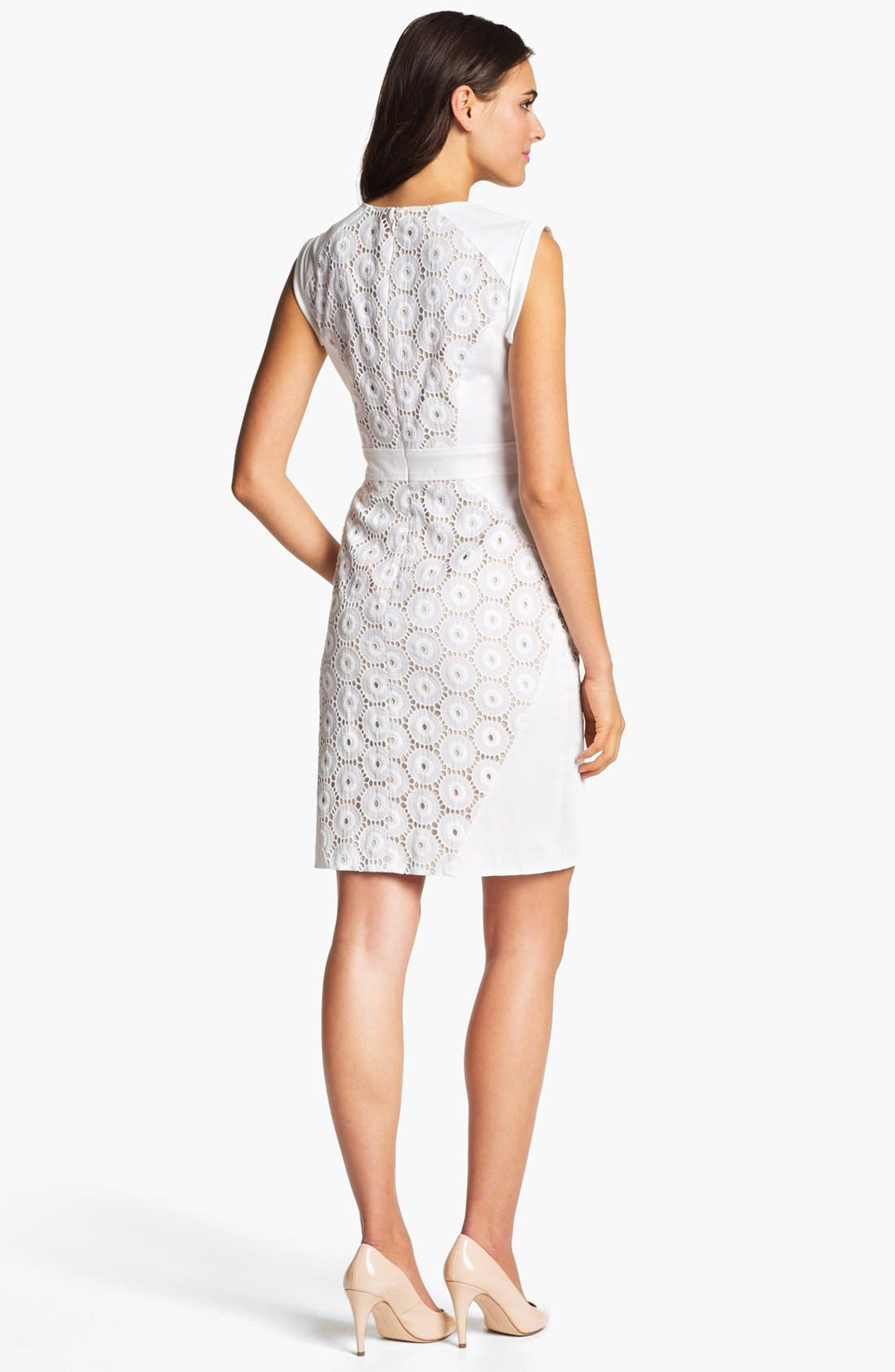 Alternate Image 2  - Adrianna Papell Mixed Lace Cotton Sheath Dress (Regular & Petite)