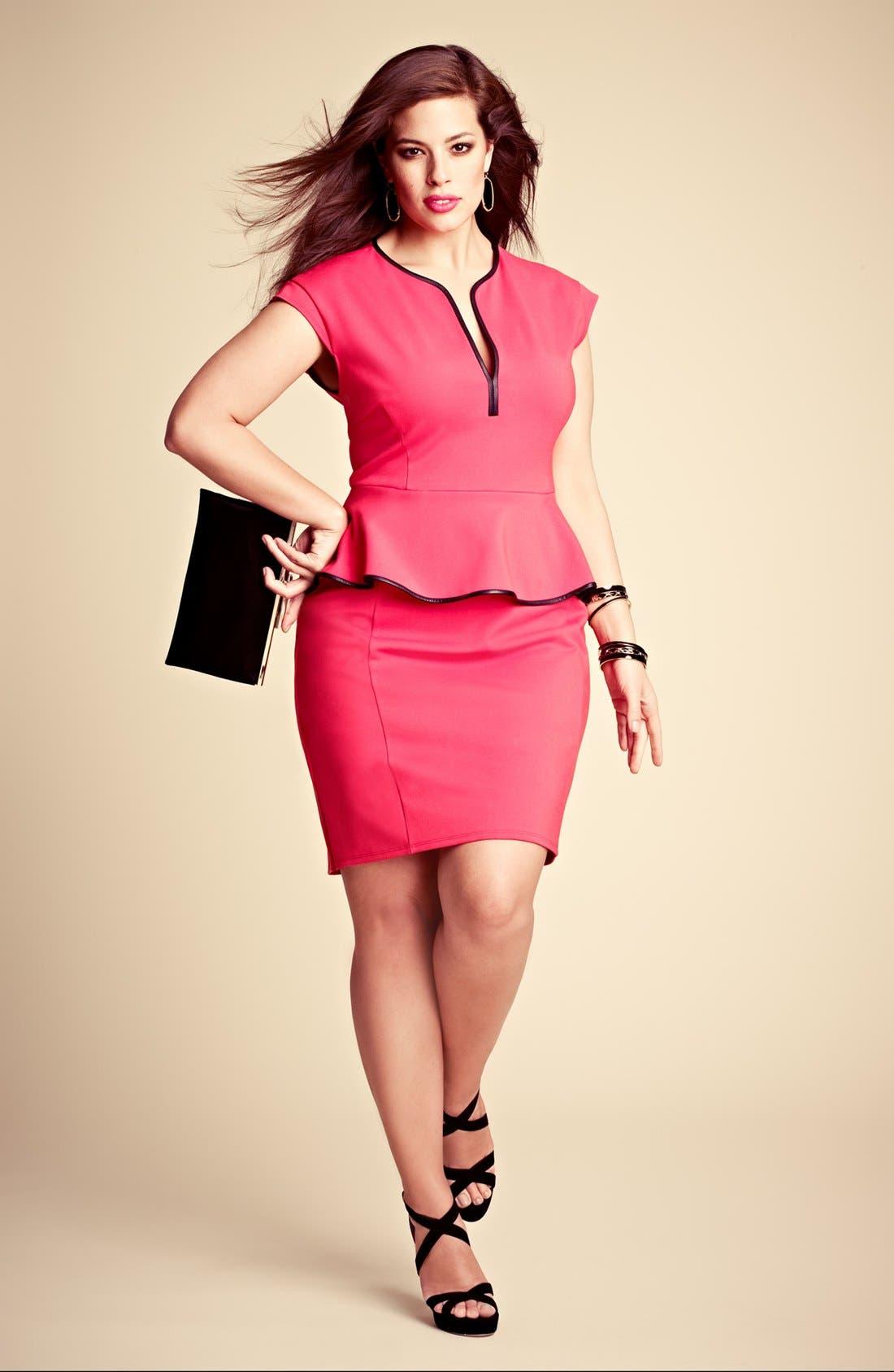 Alternate Image 5  - ABS by Allen Schwartz Leather Trim Peplum Dress (Plus Size)