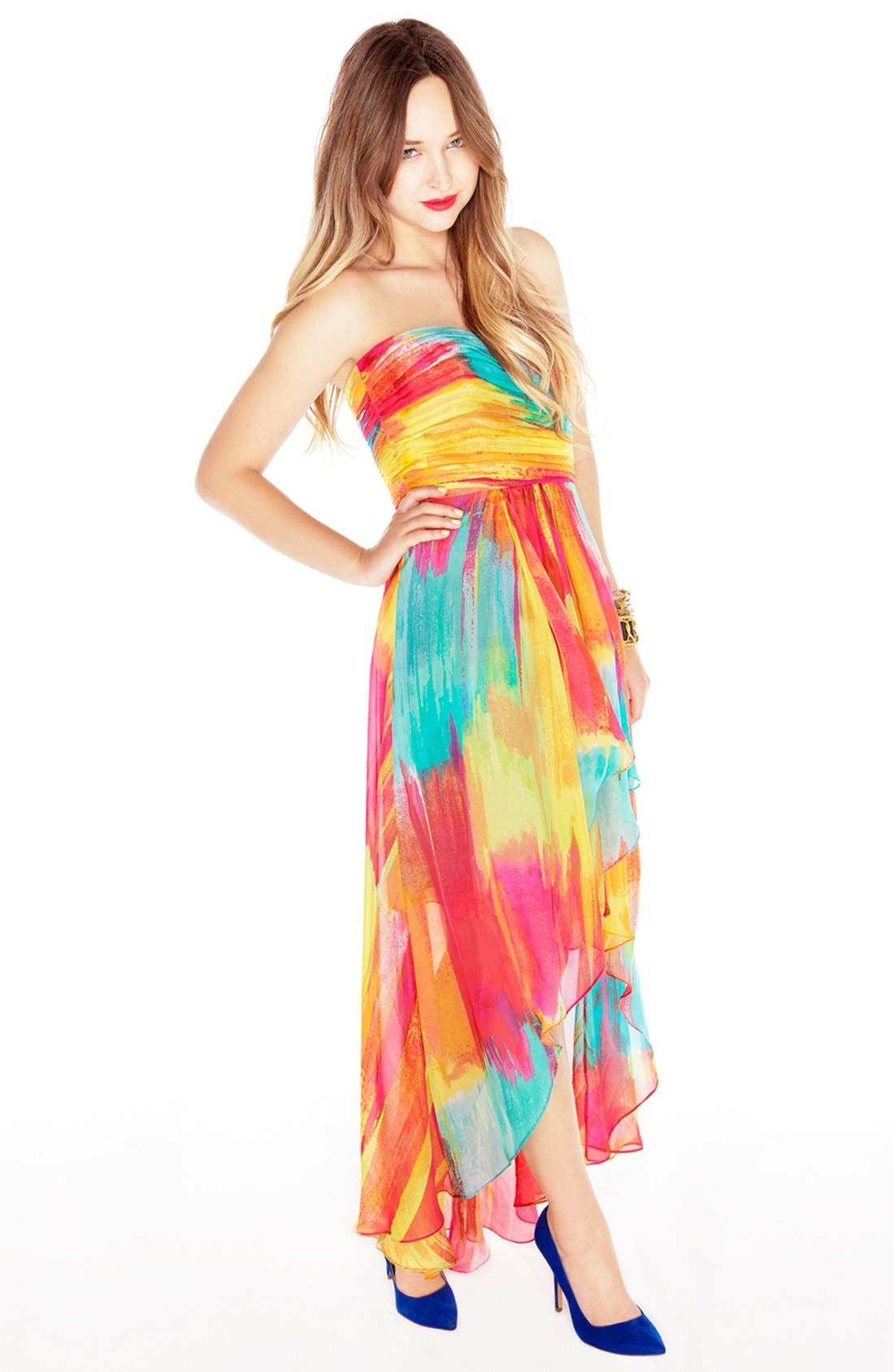 Alternate Image 2  - Laundry by Shelli Segal High/Low Print Chiffon Gown