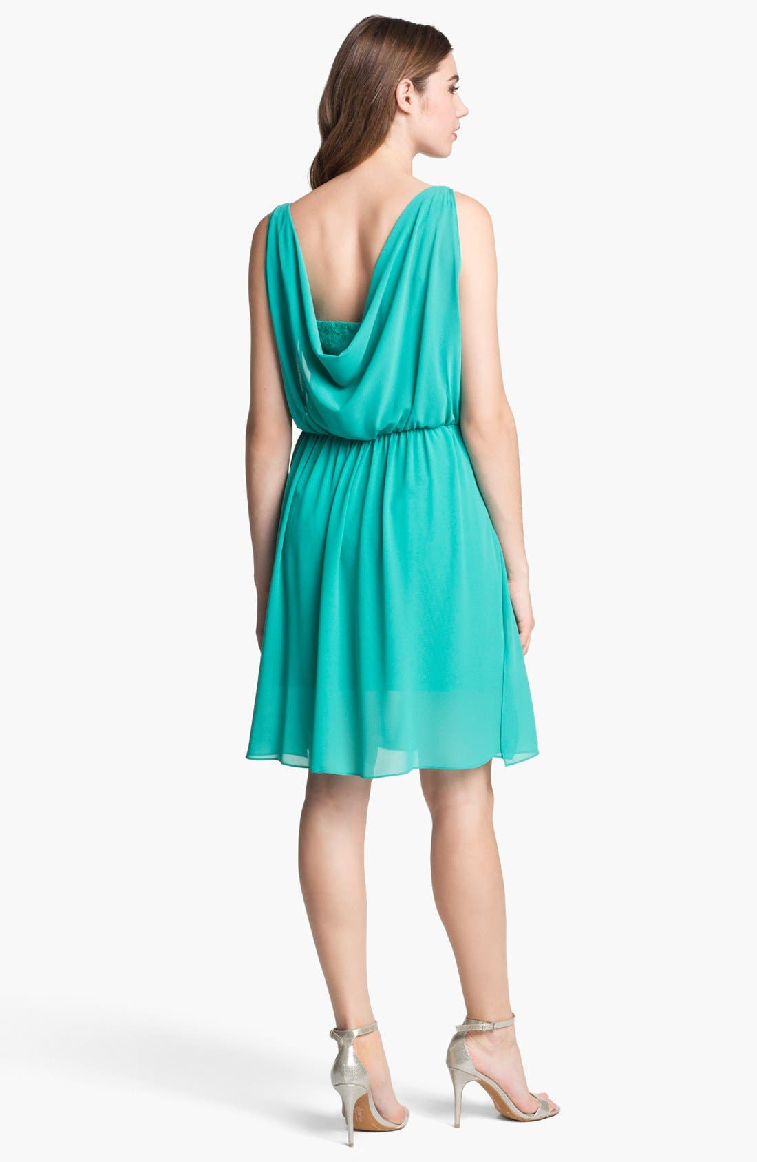 Alternate Image 2  - Jessica Simpson Lace & Chiffon Surplice Dress