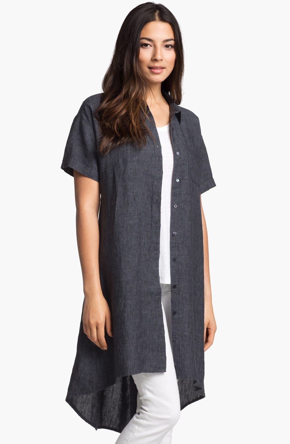 Alternate Image 2  - Eileen Fisher High/Low Linen Shirtdress