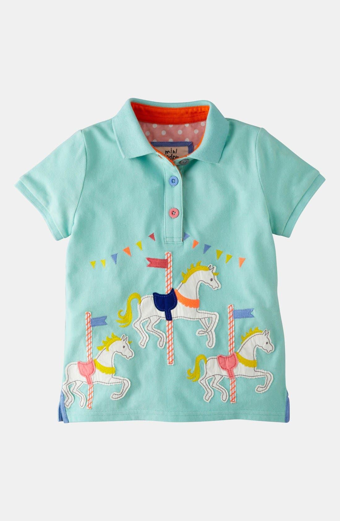 Alternate Image 1 Selected - Mini Boden Appliqué Polo (Toddler)