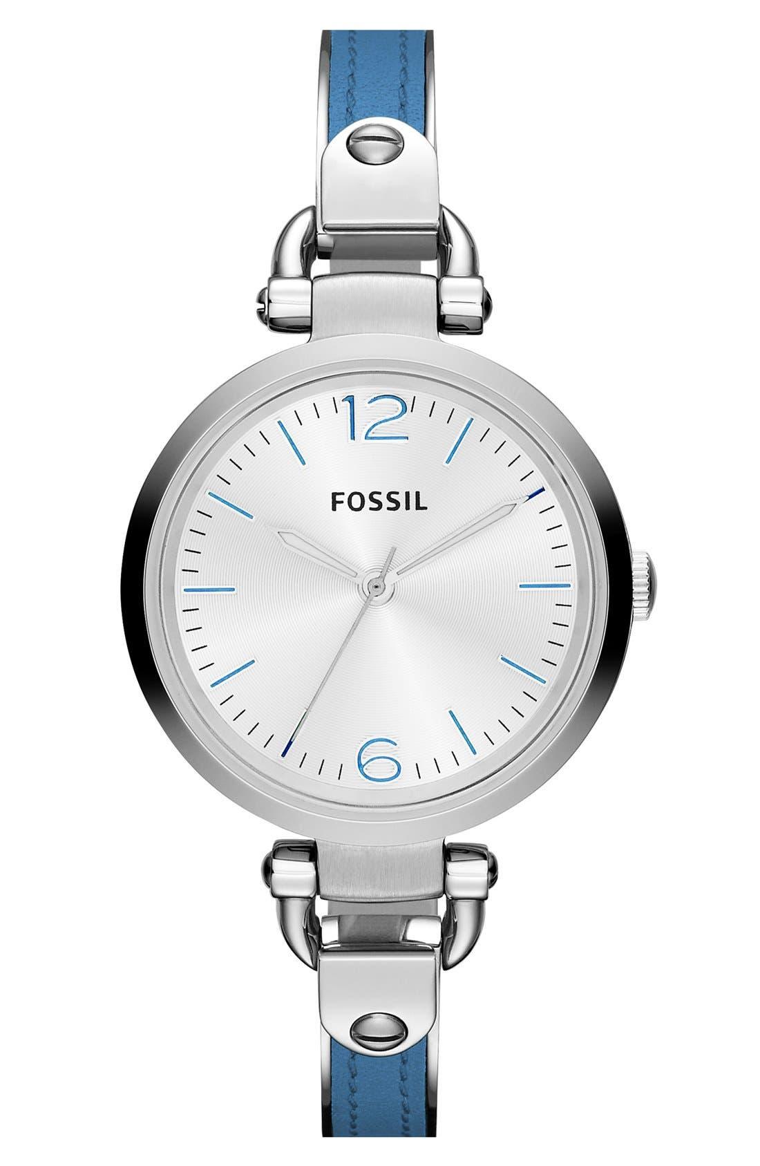 Main Image - Fossil 'Georgia' Leather Bangle Watch, 32mm