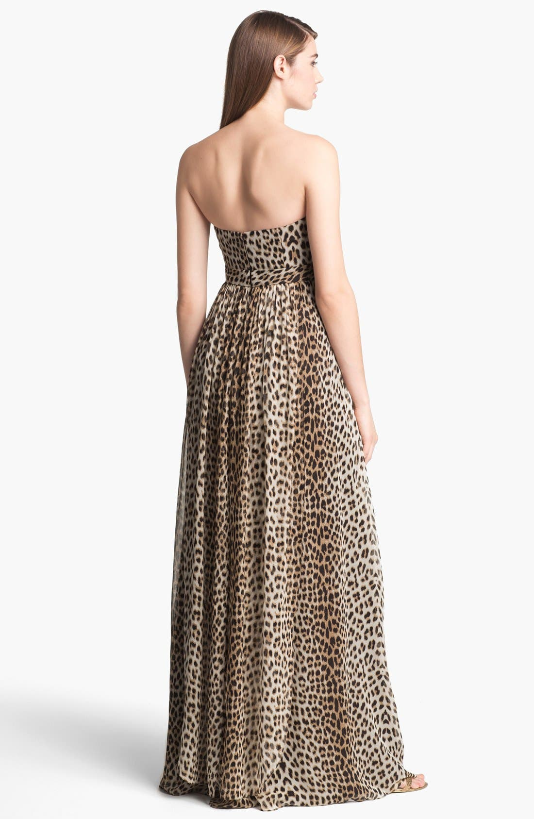 Alternate Image 2  - Jenny Yoo 'Aidan' Convertible Leopard Print Long Chiffon Gown (Online Only)