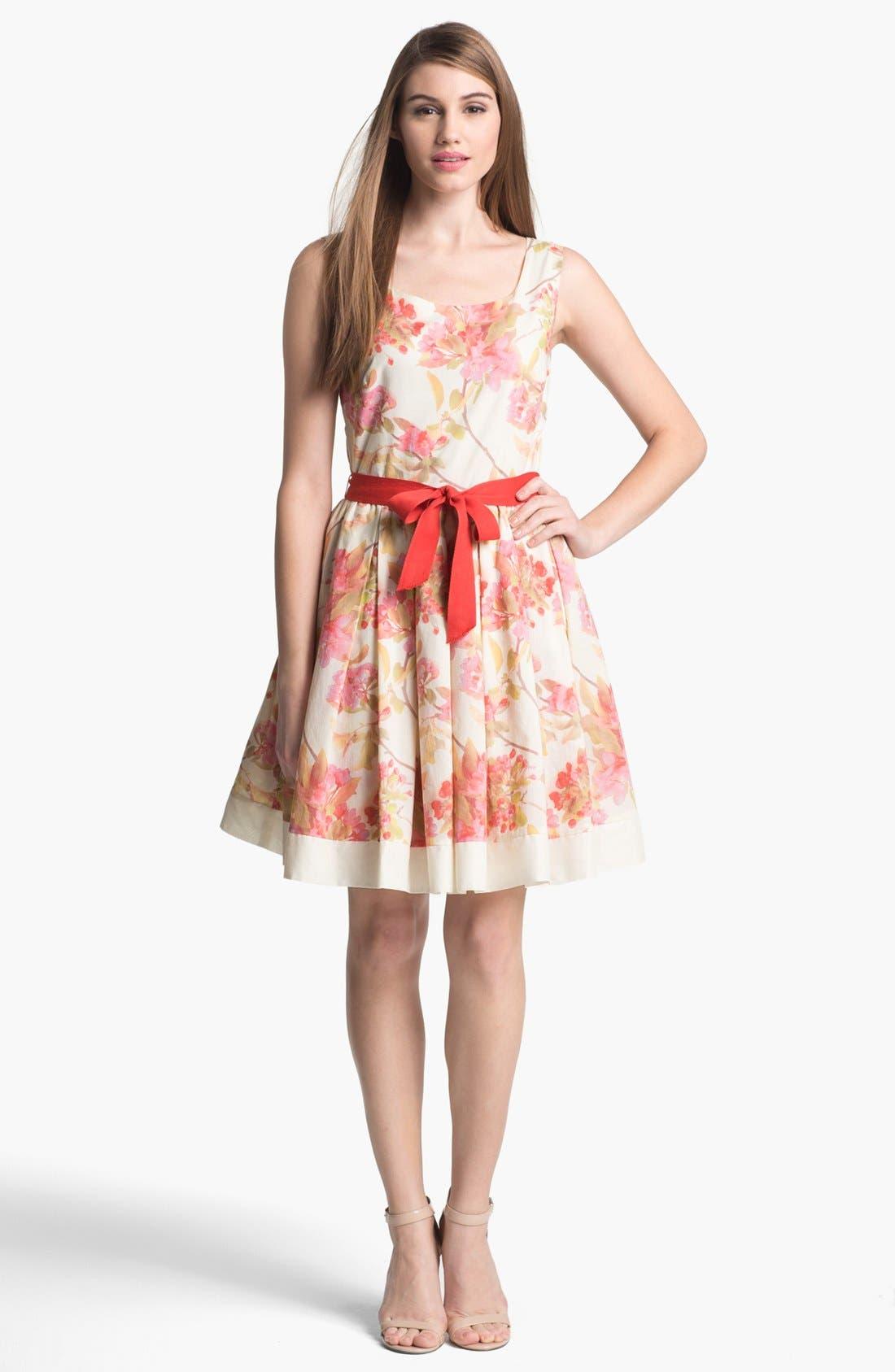 Alternate Image 1 Selected - Taylor Dresses Floral Print Fit & Flare Dress