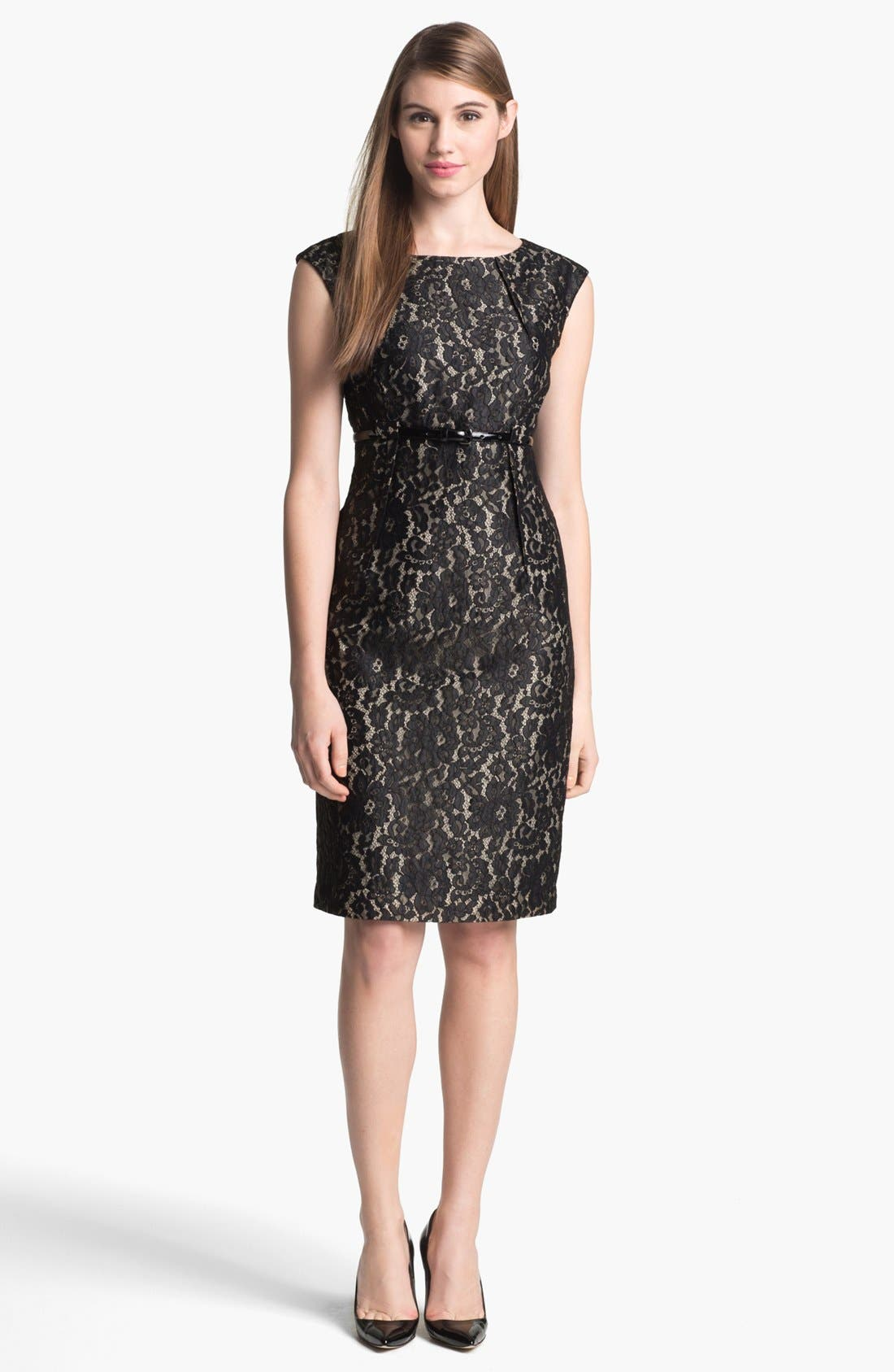 Main Image - Calvin Klein Belted Lace Sheath Dress (Regular & Petite)
