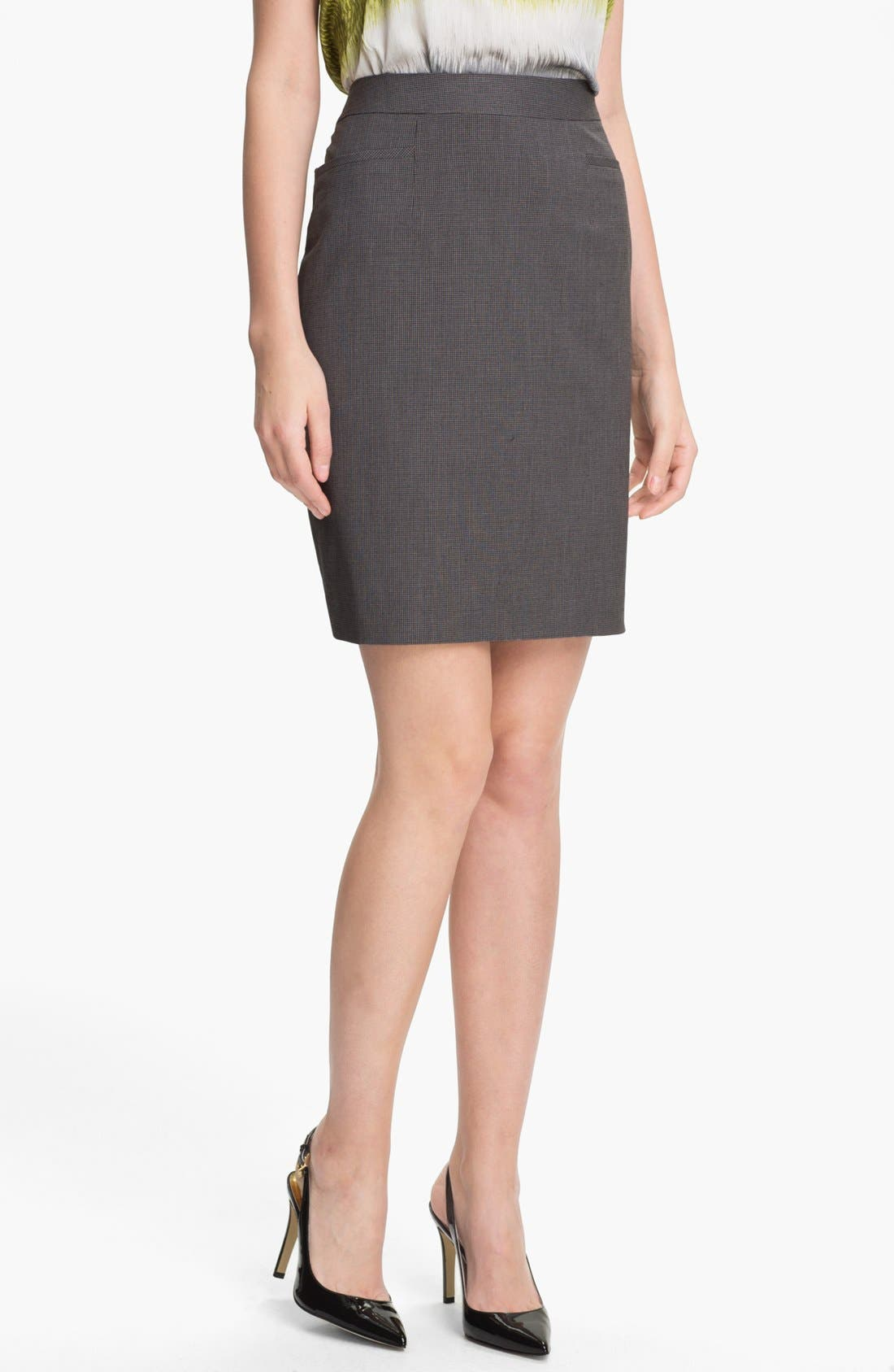 Alternate Image 1 Selected - Halogen® Mini Check Skirt (Petite)
