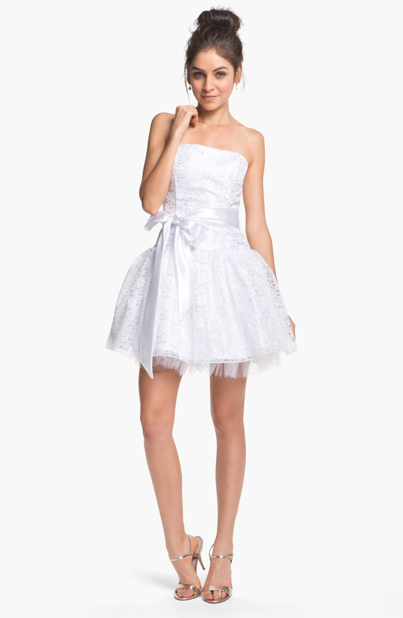 Jessica McClintock Strapless Lace & Tulle Dress | Nordstrom