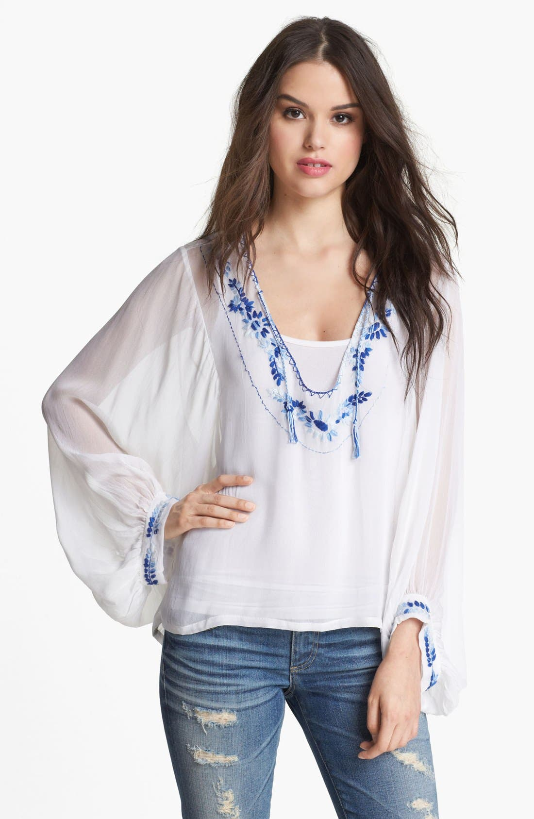 Embroidered Blouson Sleeve Top,                             Main thumbnail 1, color,                             White