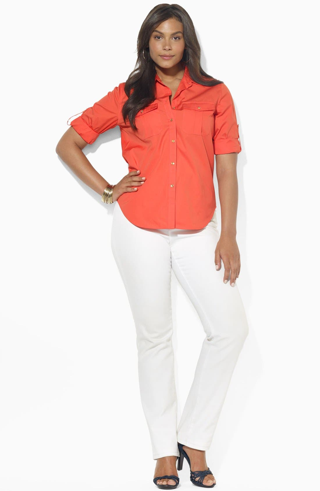 Alternate Image 2  - Lauren Ralph Lauren Cotton Work Shirt (Plus Size)