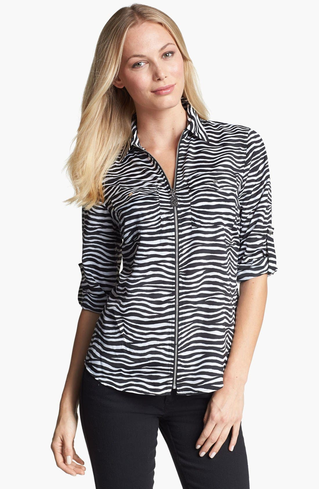 Alternate Image 1 Selected - MICHAEL Michael Kors Front Zip Zebra Print Shirt