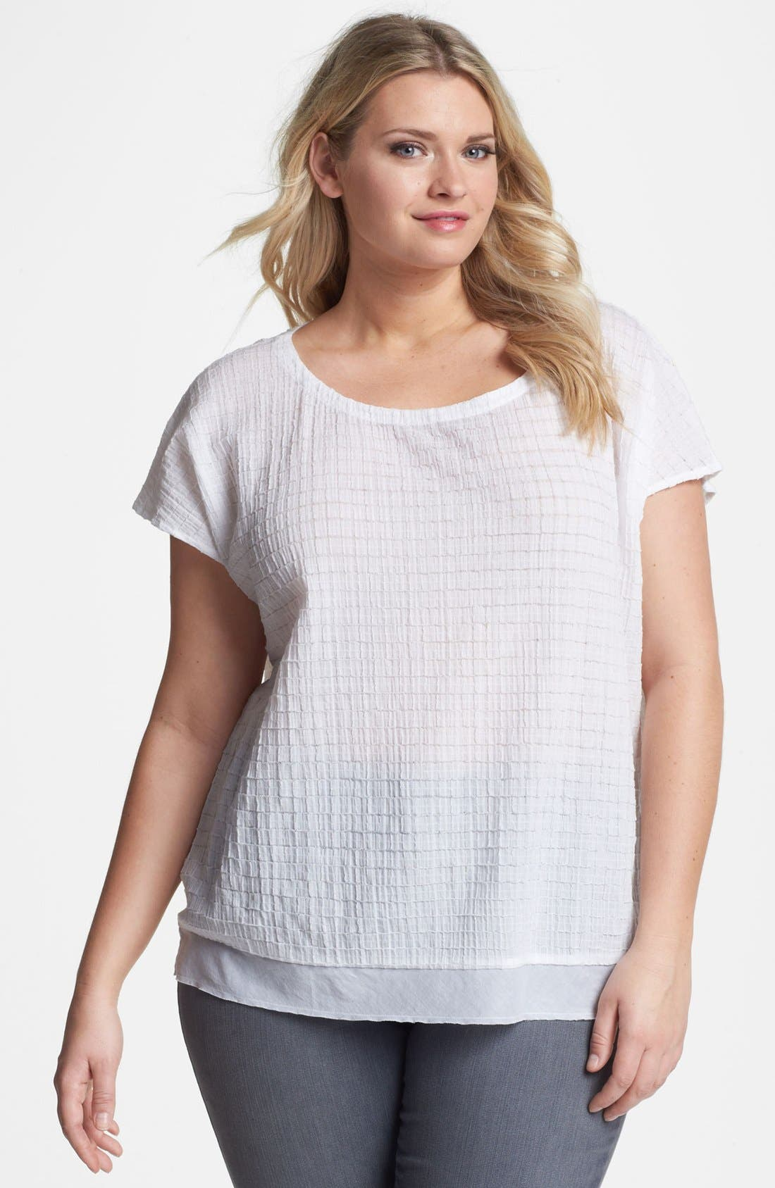 Alternate Image 1 Selected - Eileen Fisher Cap Sleeve Top (Plus Size)