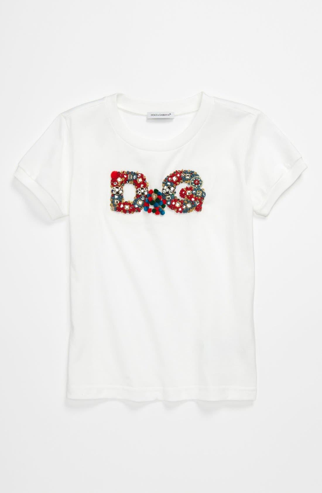 Alternate Image 1 Selected - Dolce&Gabbana Embroidery Tee (Little Girls & Big Girls)