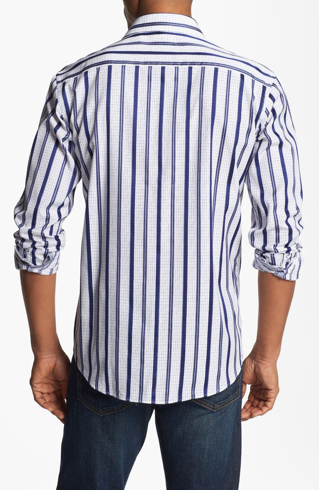 Alternate Image 3  - Bugatchi Striped Shaped Fit Cotton Sport Shirt