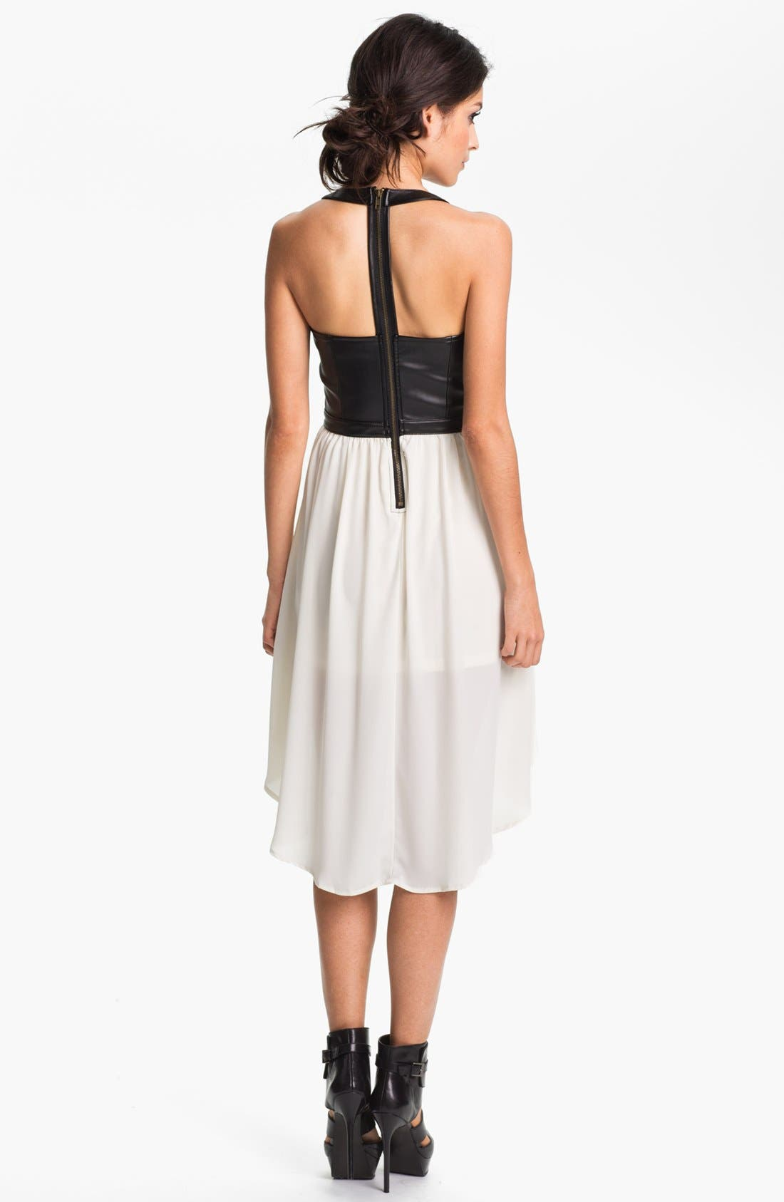 Alternate Image 2  - Clothing Cutout Faux Leather Bustier Dress