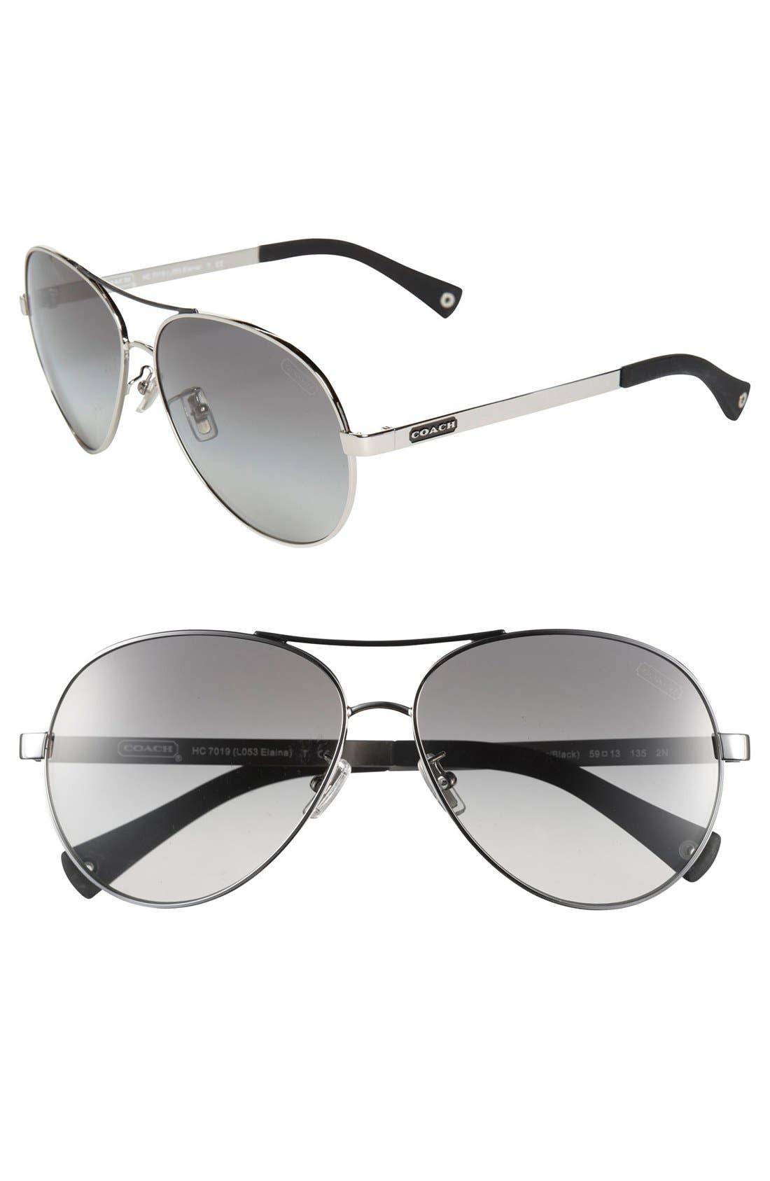 Main Image - COACH 'Elaina' 59mm Aviator Sunglasses