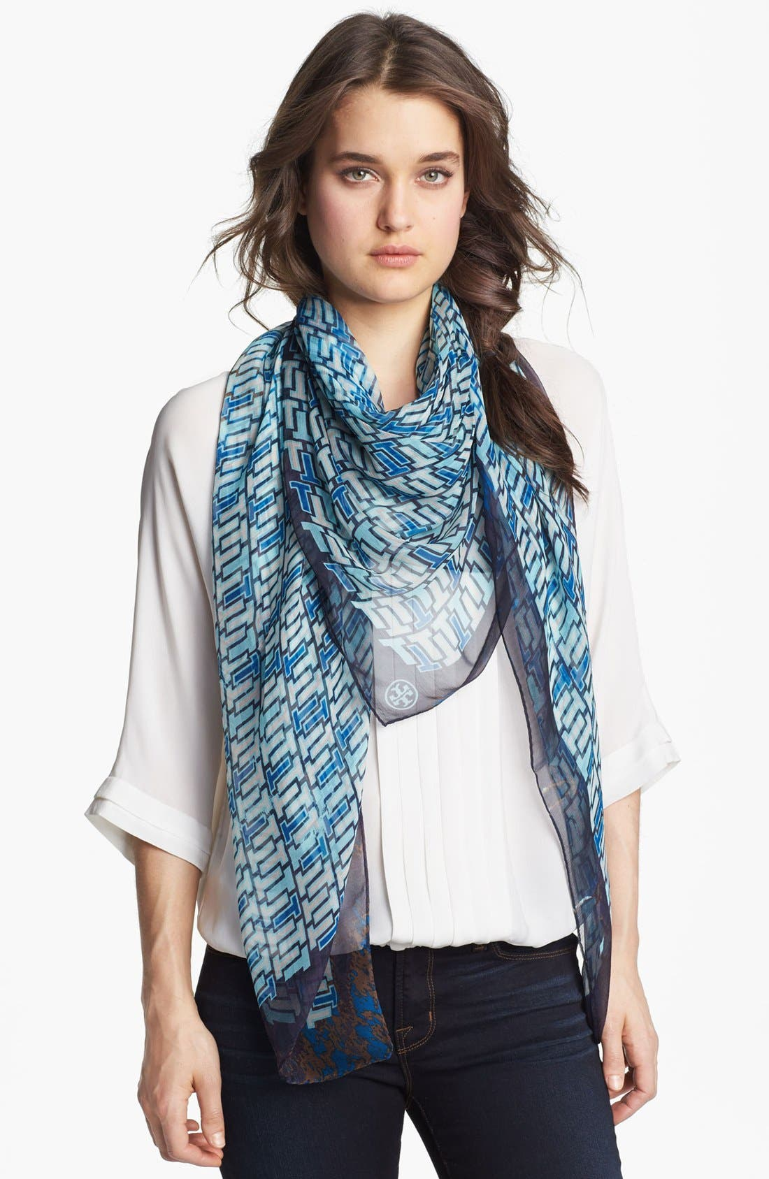 Main Image - Tory Burch 'Multi T' Silk Scarf