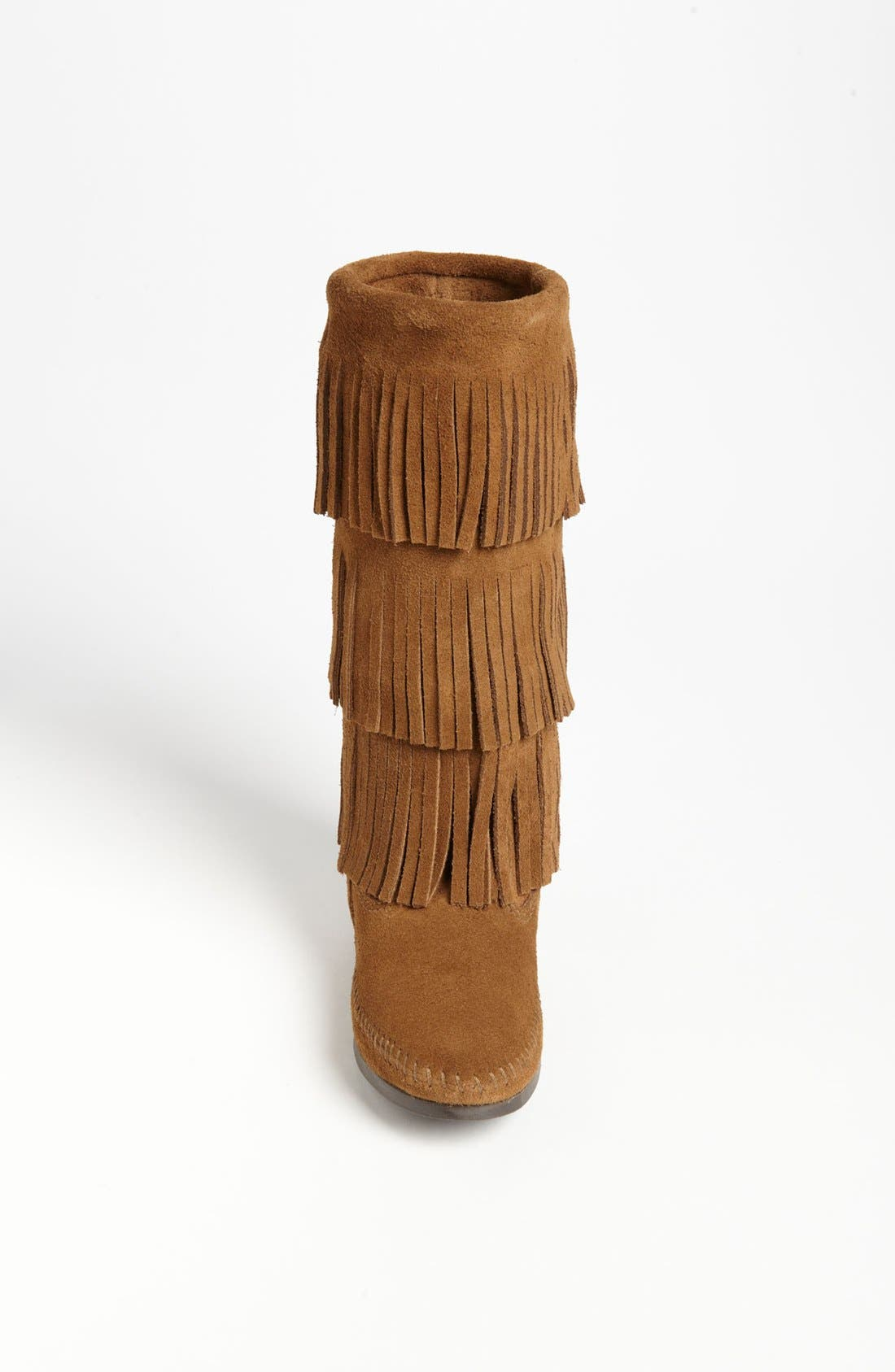 3-Layer Fringe Boot,                             Alternate thumbnail 3, color,                             Dusty Brown Suede