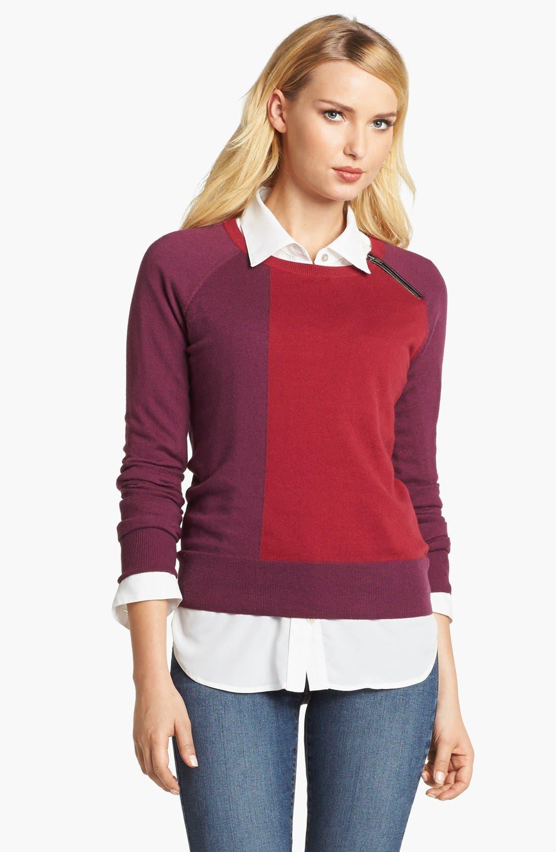 Main Image - Amber Sun Zip Trim Colorblock Crewneck Sweater