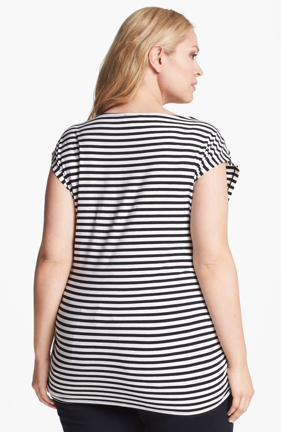 Alternate Image 2  - MICHAEL Michael Kors Zipper Detail Stripe Tee (Plus Size)