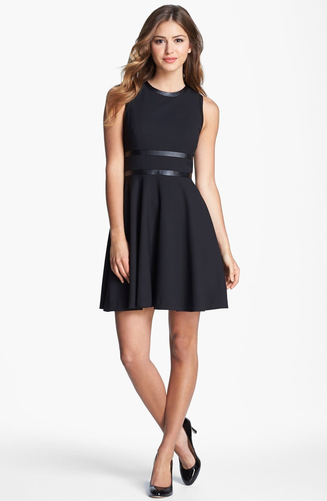 Main Image - Cynthia Steffe Faux Leather Trim Fit & Flare Dress
