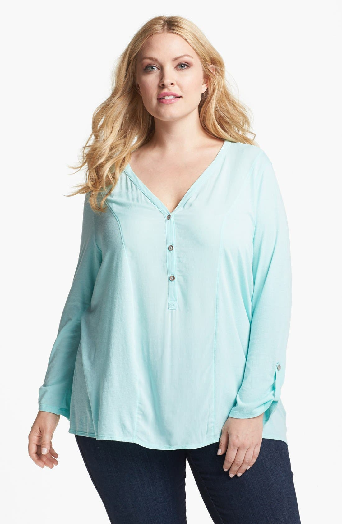 Main Image - Two by Vince Camuto High/Low Henley (Plus Size)