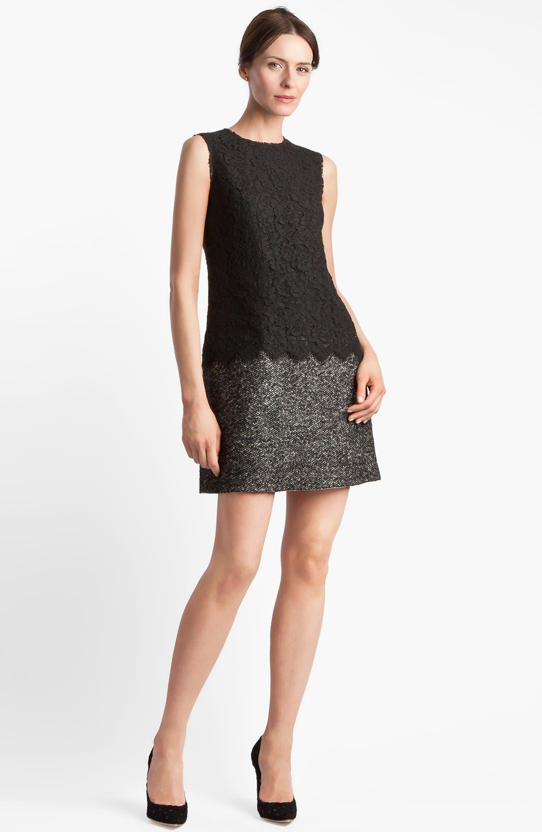 Alternate Image 1 Selected - Dolce&Gabbana Lace & Tweed Dress