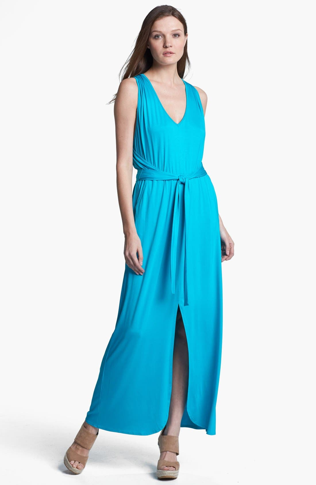 Alternate Image 1 Selected - Trina Turk 'Leandra' Belted Stretch Maxi Dress