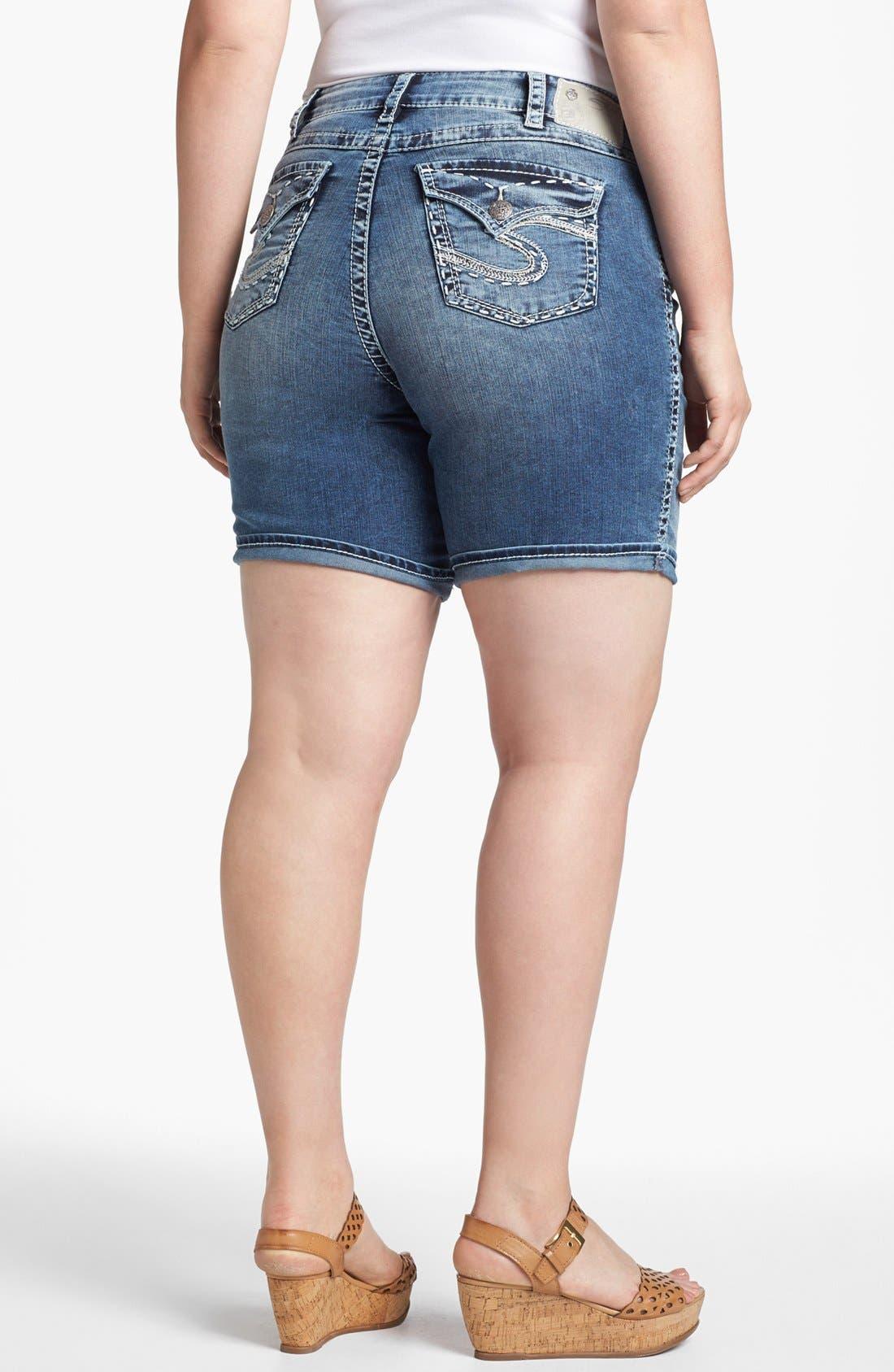 Alternate Image 2  - Silver Jeans Co. 'McKenzie' Denim Shorts (Juniors Plus)