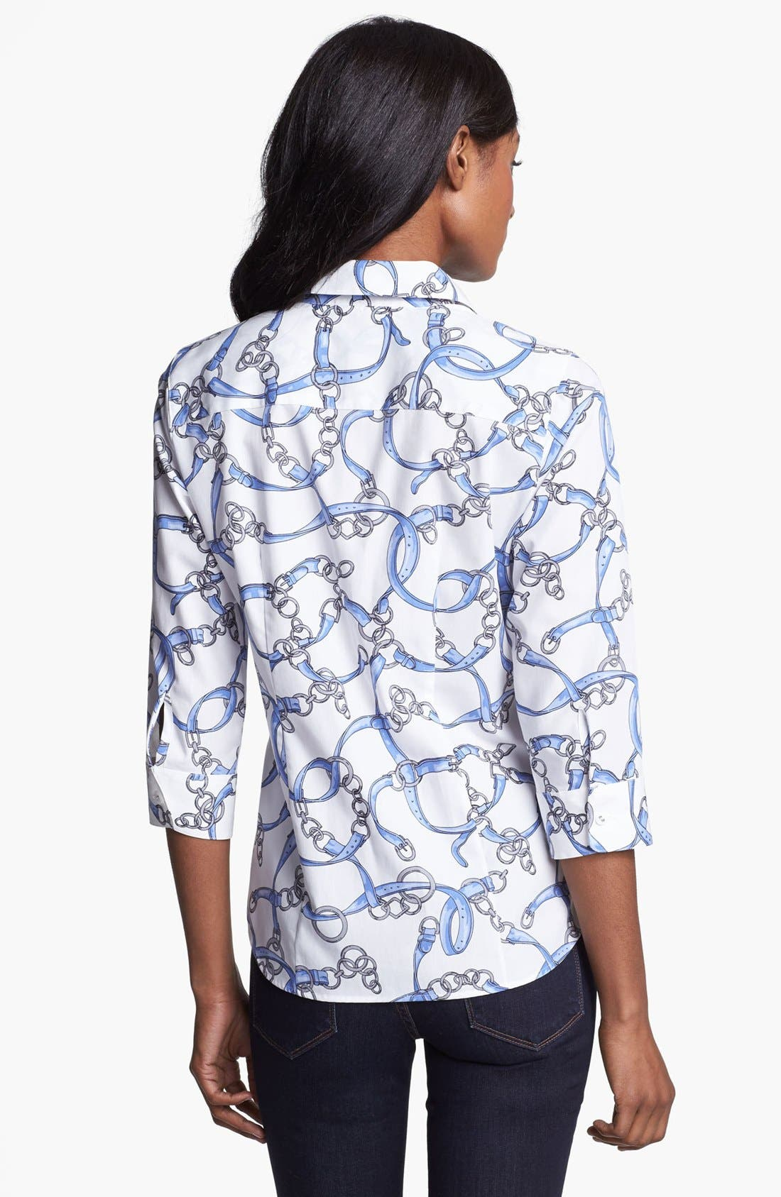 Alternate Image 2  - Foxcroft Scarf Print Fitted Blouse (Petite)