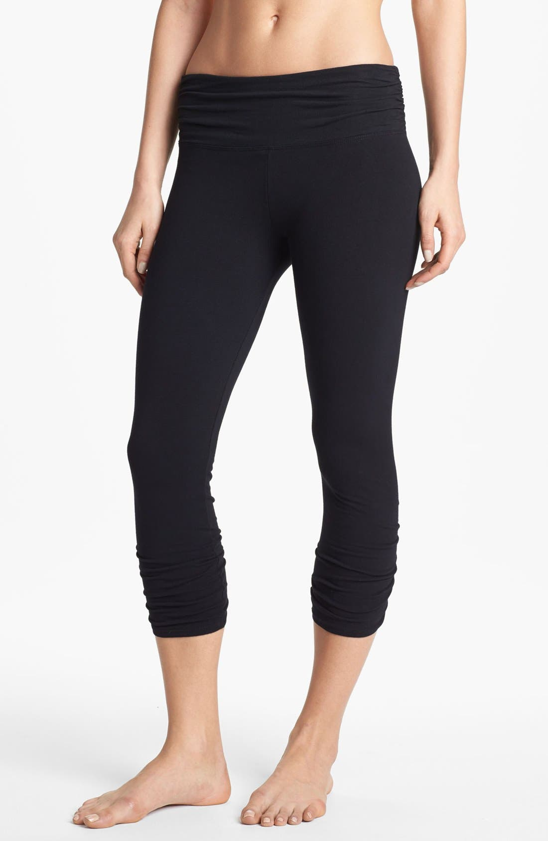 Alternate Image 2  - Solow Shirred Crop Leggings with Contrast Waistband